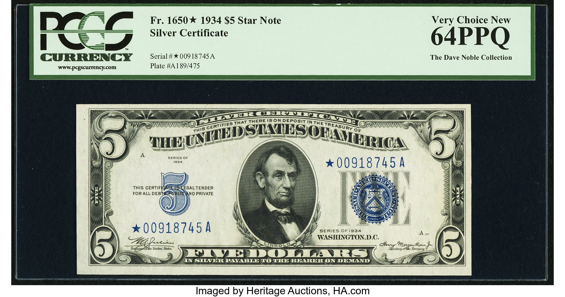 sample image for 1934 $5  Replacement (Fr.# 1650*)