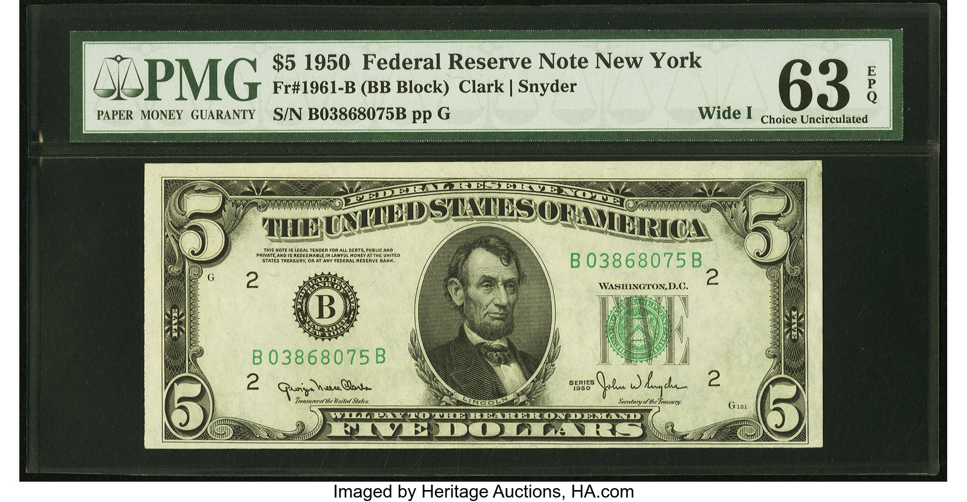 sample image for 1950 Dark Green Seal $5  (Fr.# 1961B)