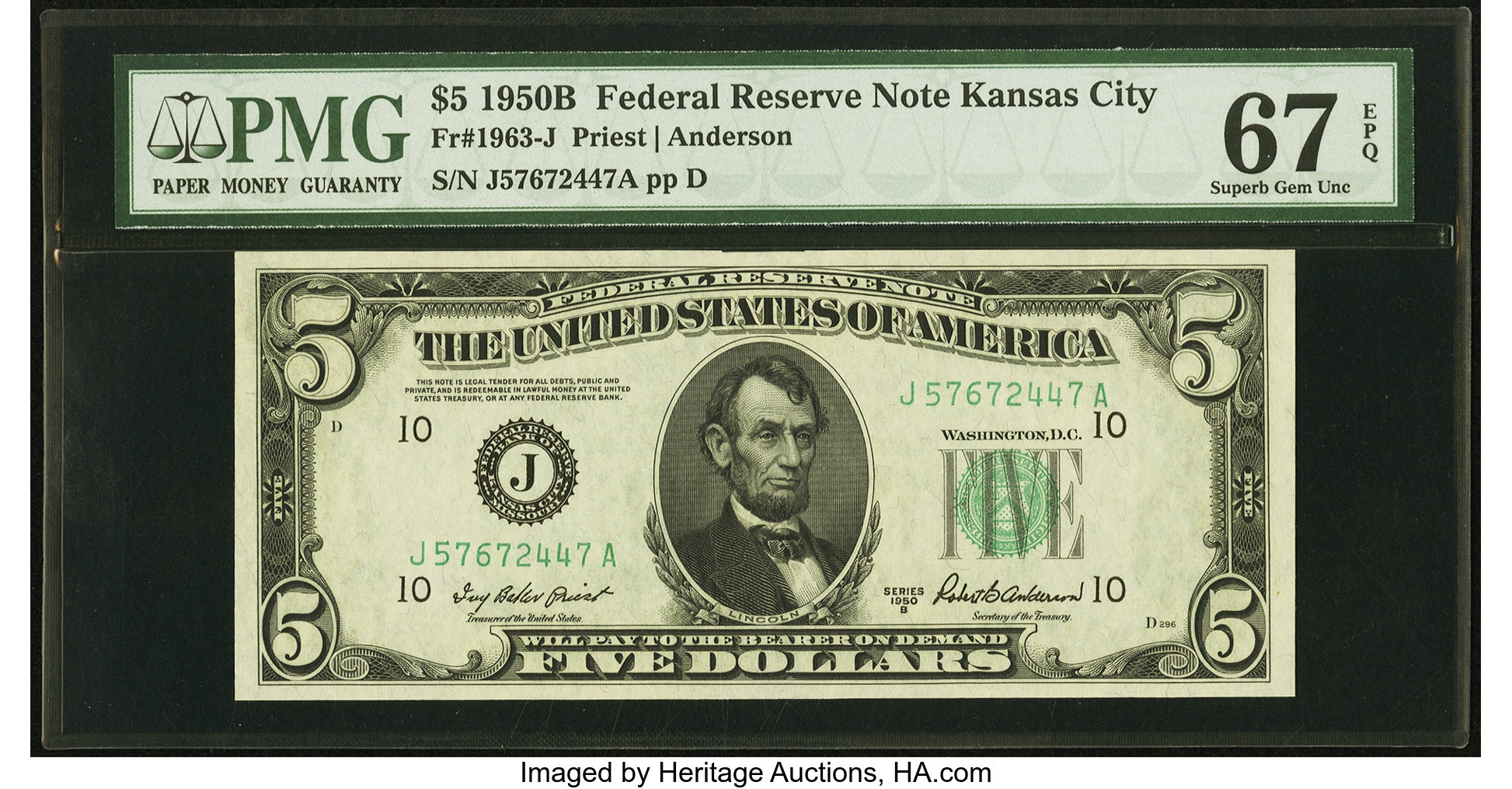 sample image for 1950B Dark Green Seal $5  (Fr.# 1963J)