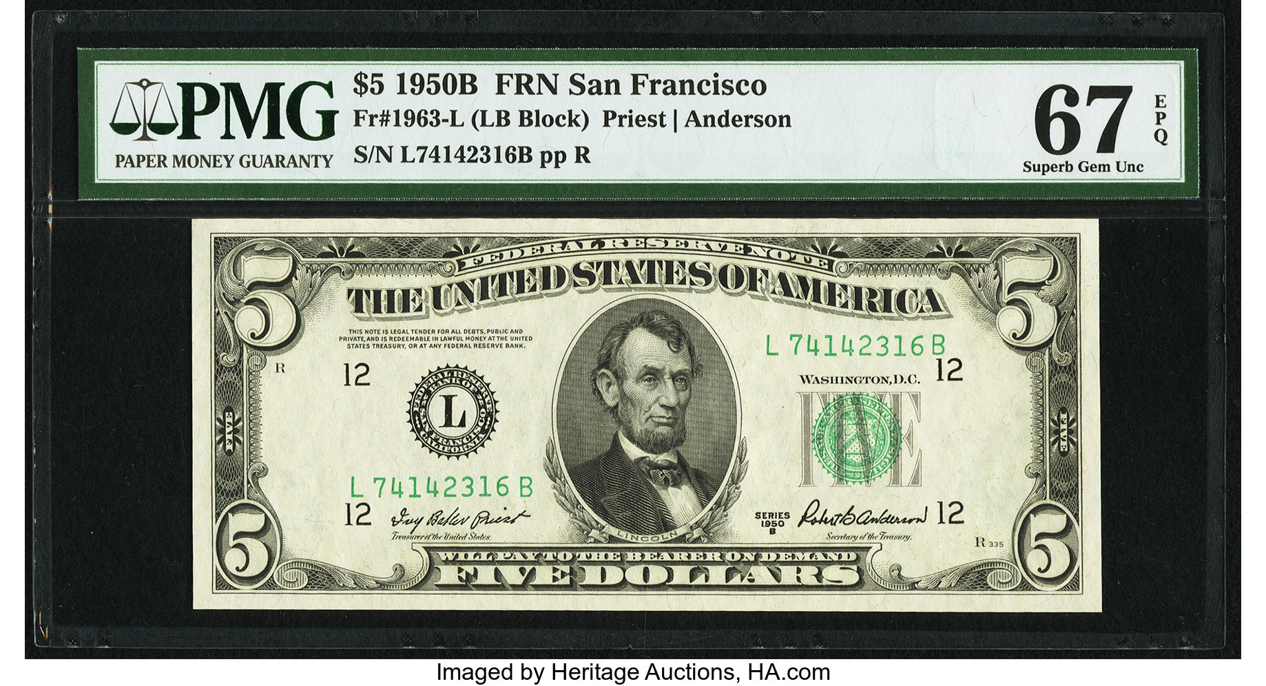sample image for 1950B Dark Green Seal $5  (Fr.# 1963L)