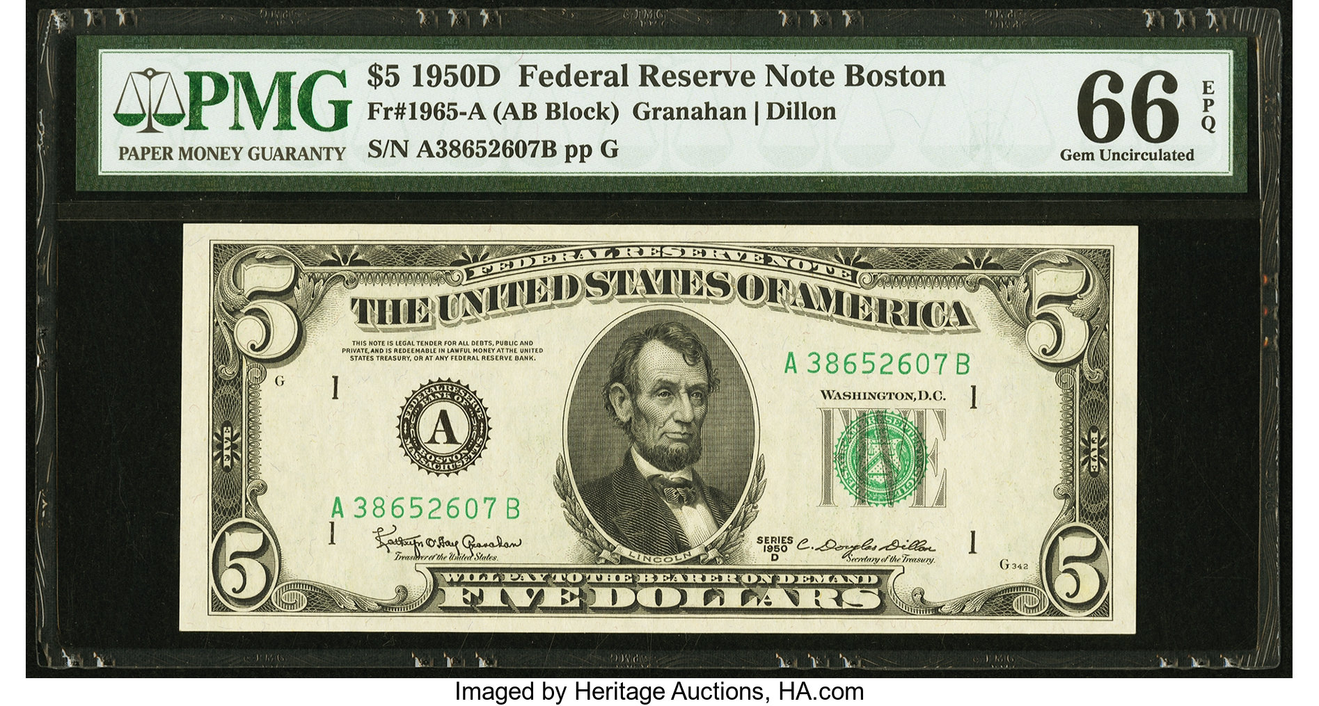 sample image for 1950D Dark Green Seal $5  (Fr.# 1965A)