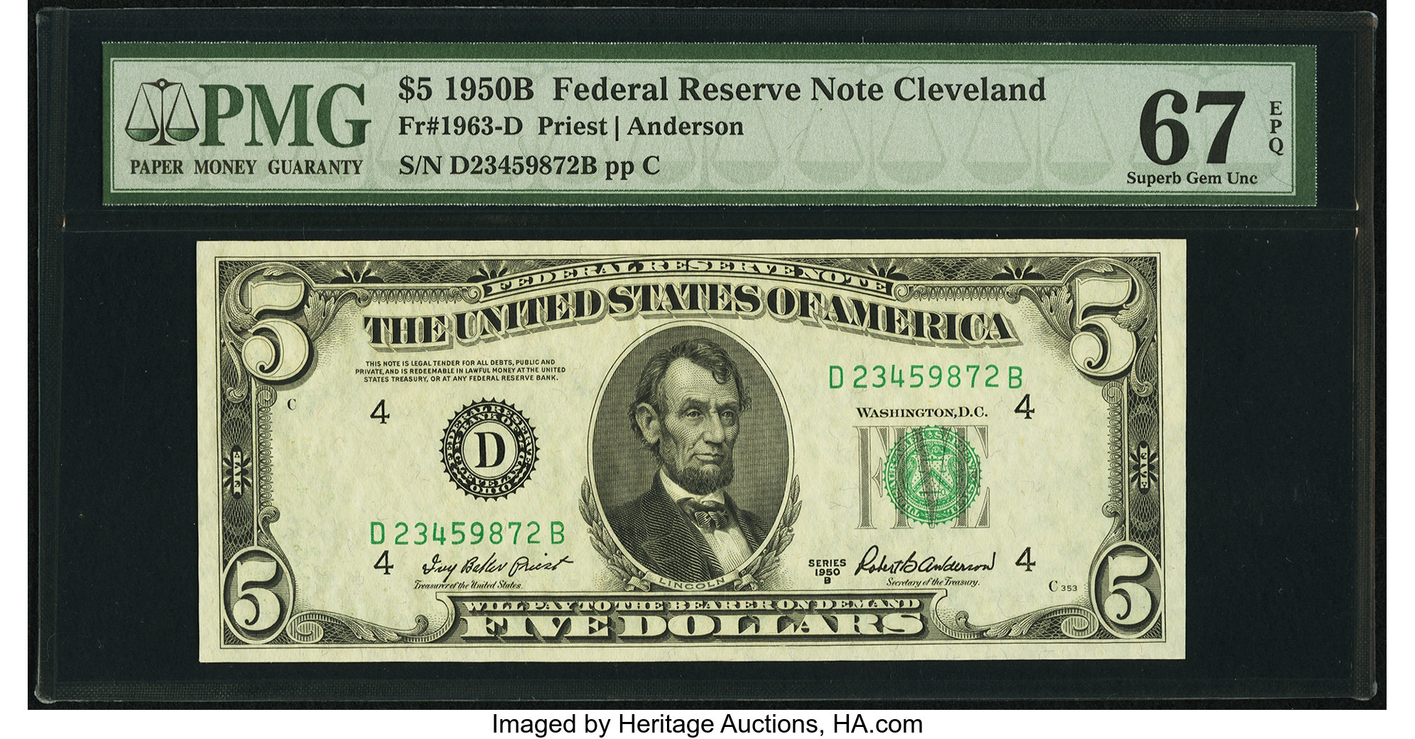 sample image for 1950B Dark Green Seal $5  (Fr.# 1963D)