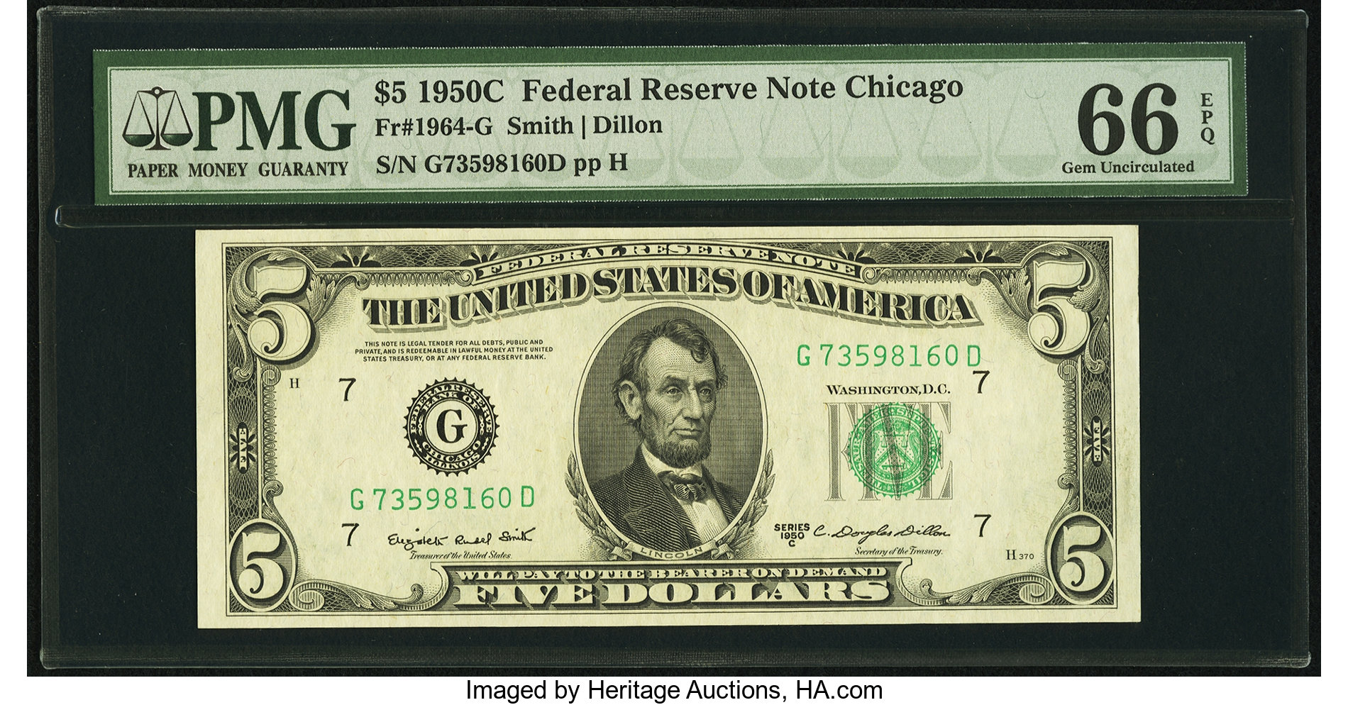 sample image for 1950C Dark Green Seal $5  (Fr.# 1964G)