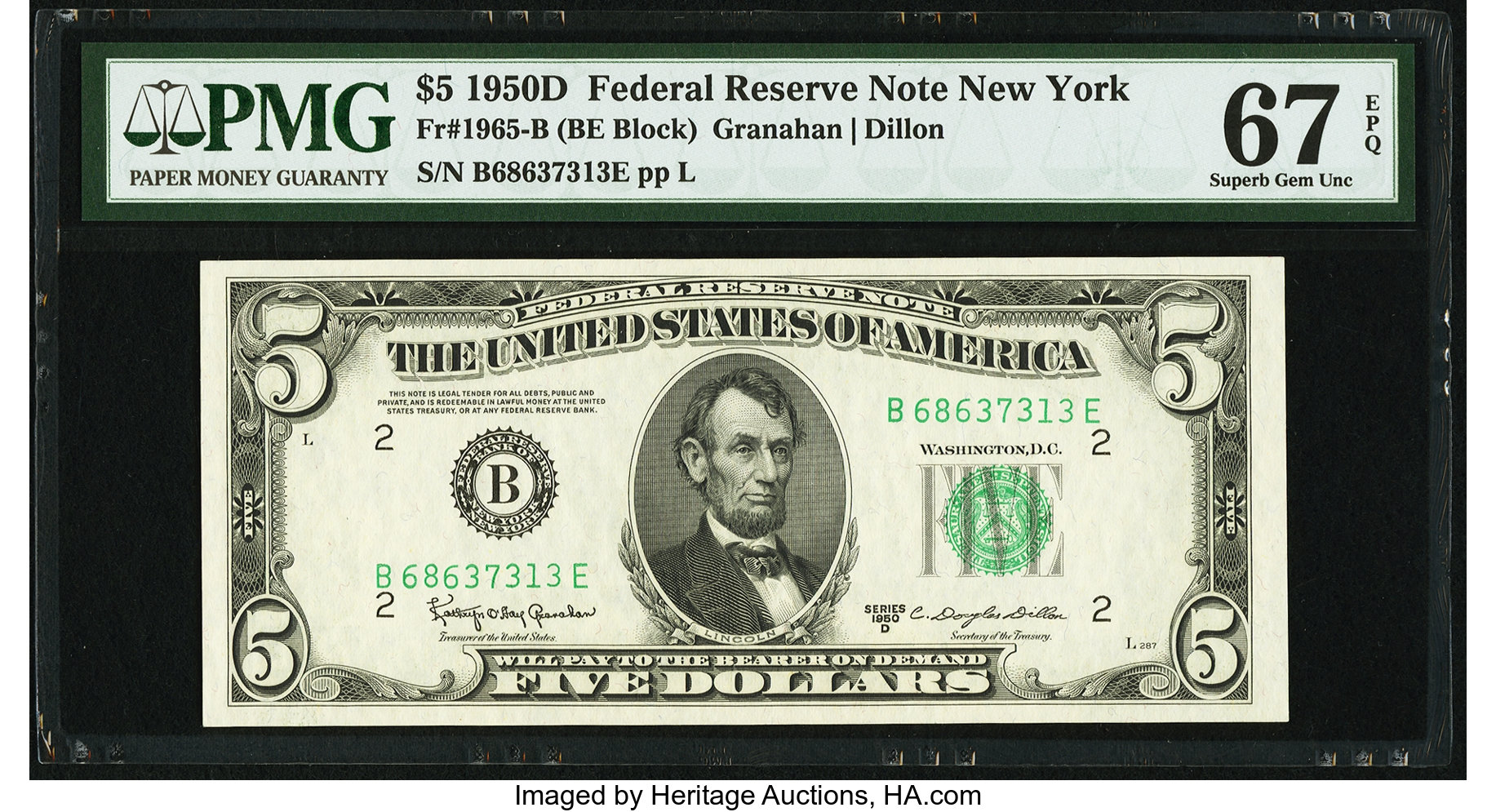 sample image for 1950D Dark Green Seal $5  (Fr.# 1965B)