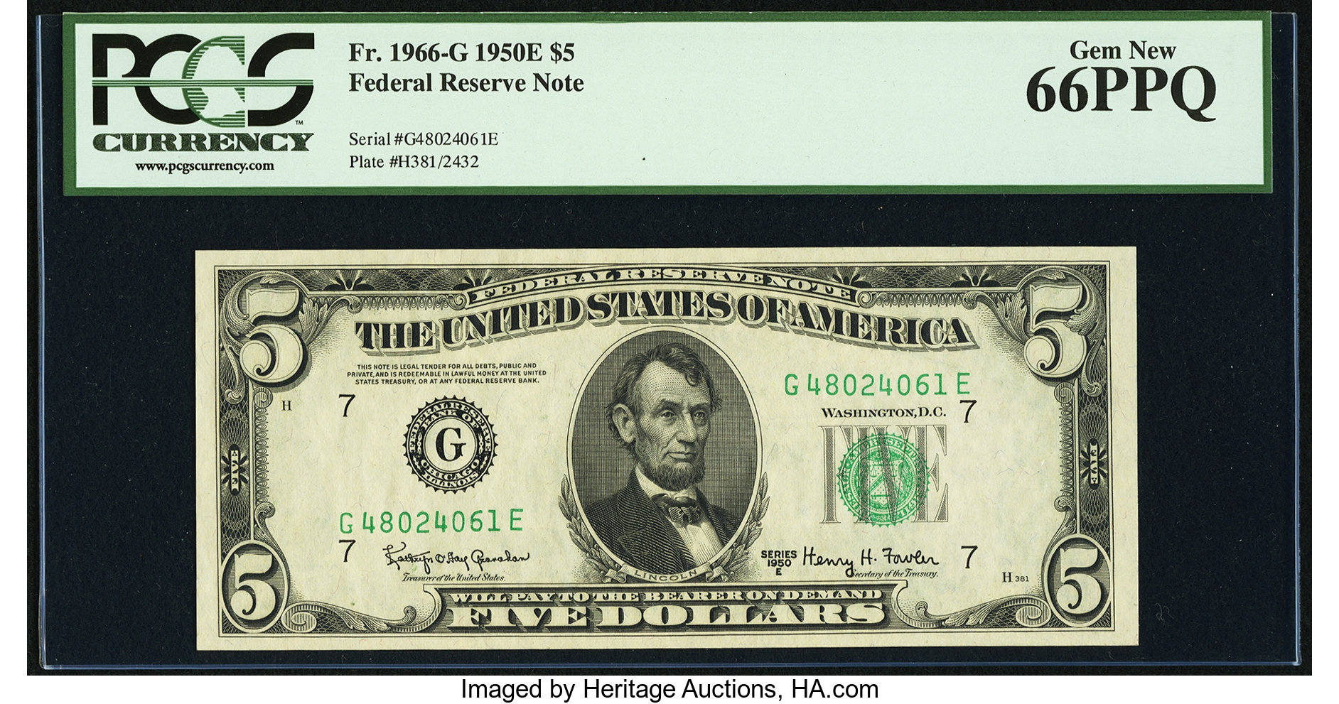 sample image for 1950E Dark Green Seal $5  (Fr.# 1966G)