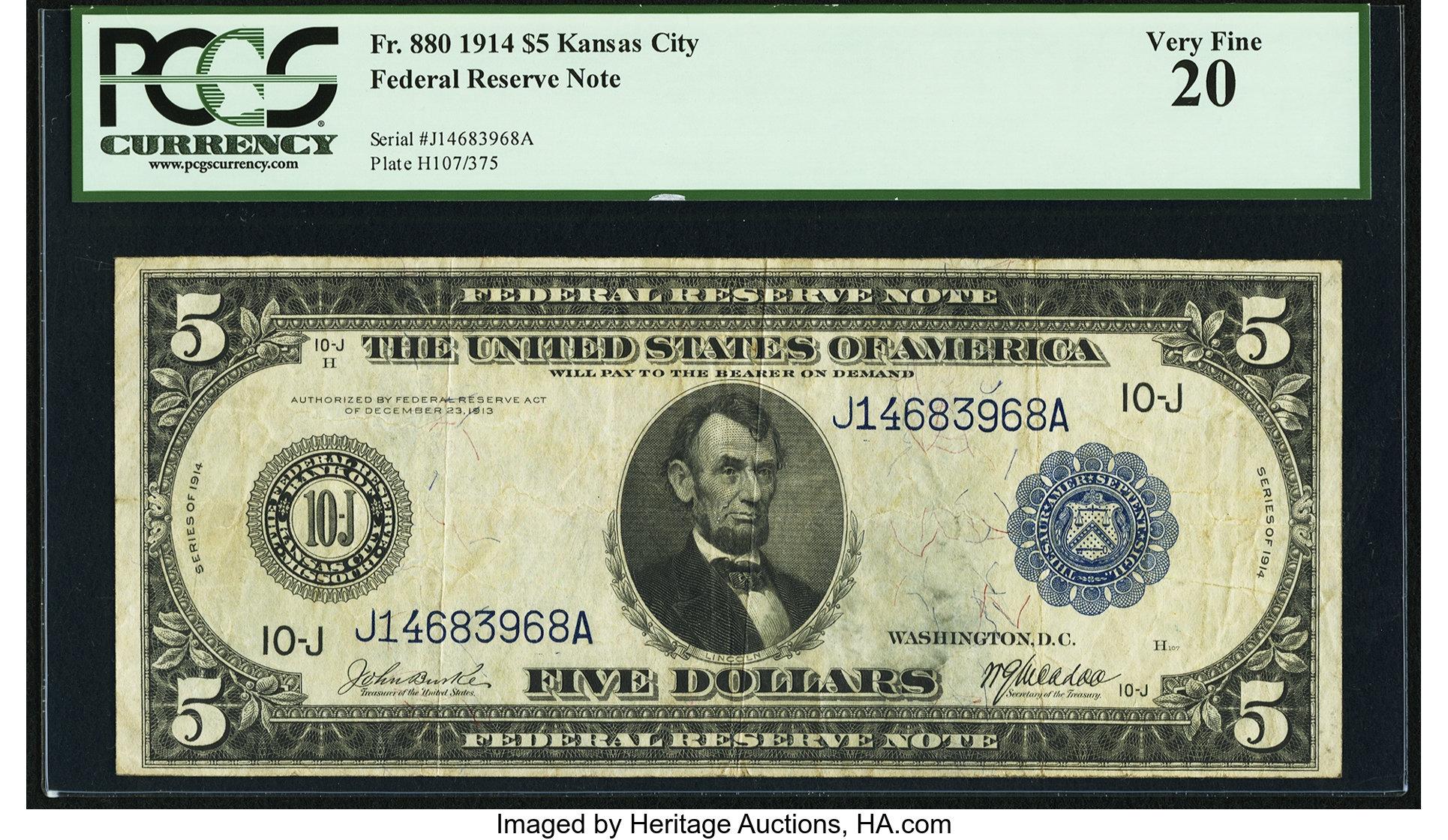 sample image for Fr.880 $5 KC