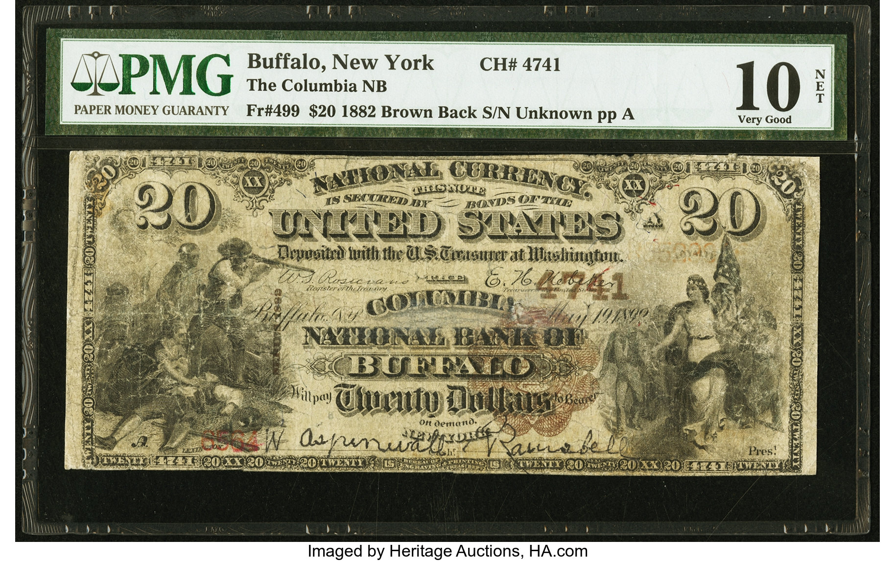 sample image for 1882 2nd Charter Period $20  Brown Back 1st Issue (Fr.# 499)