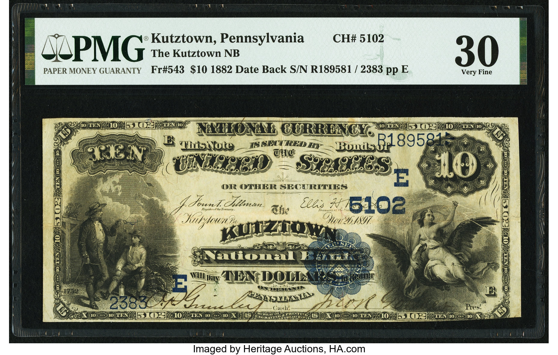 sample image for 1882 2nd Charter Period $10  Date Back 2nd Issue (Fr.# 543)
