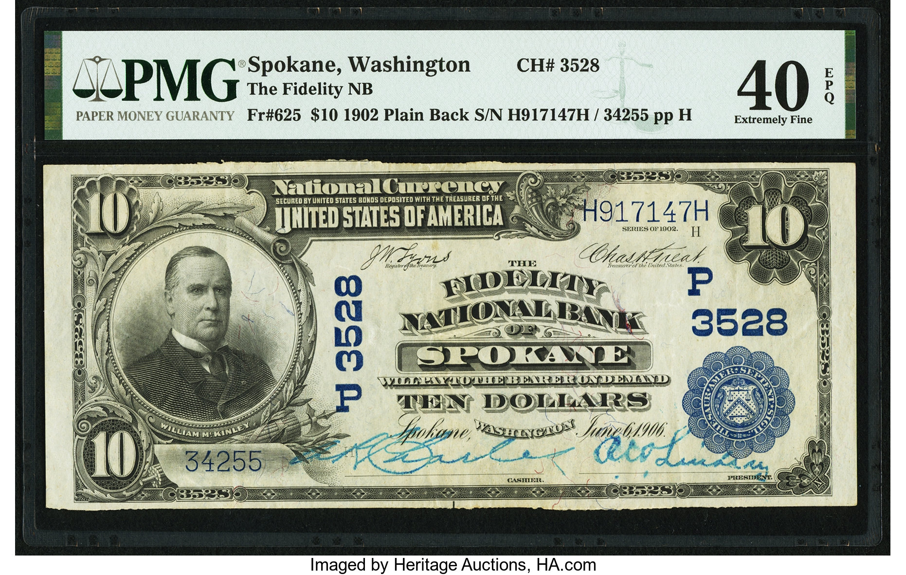 sample image for 1902 3rd Charter Period $10  Plain Back 3rd Issue (Fr.# 625)