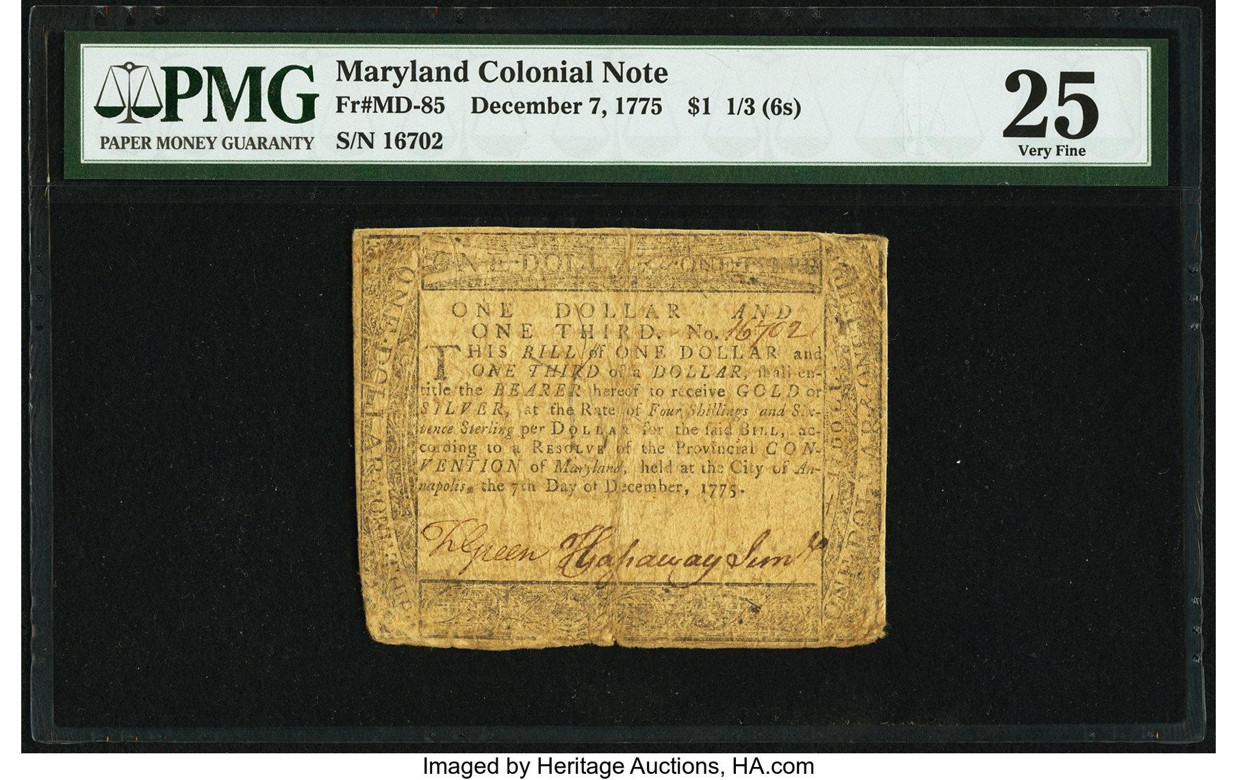 sample image for 1775 7-Dec $1 1/3 (Fr.# MD85)