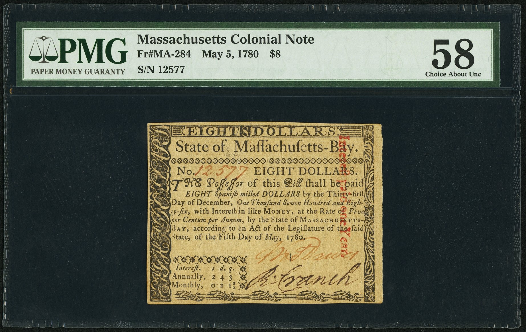 sample image for 1780 5-May $8  (Fr.# MA284)