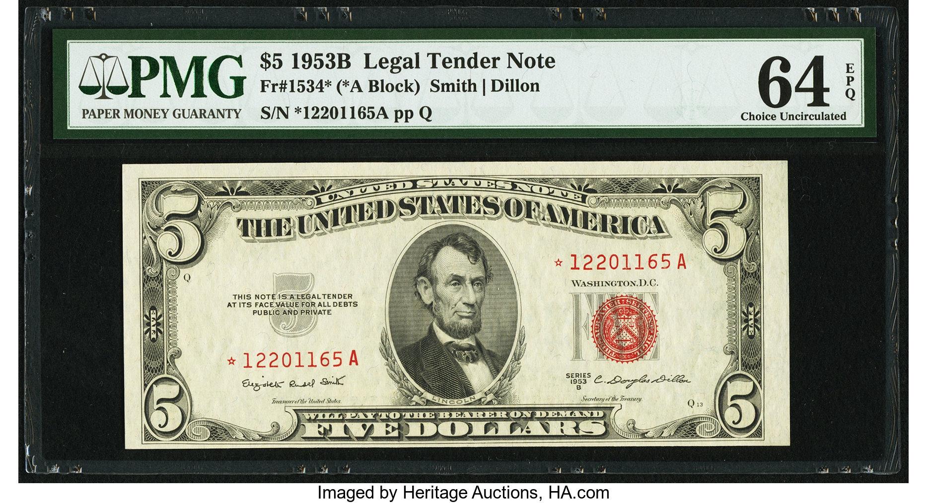 sample image for 1953B $5  (Fr.# 1534*)