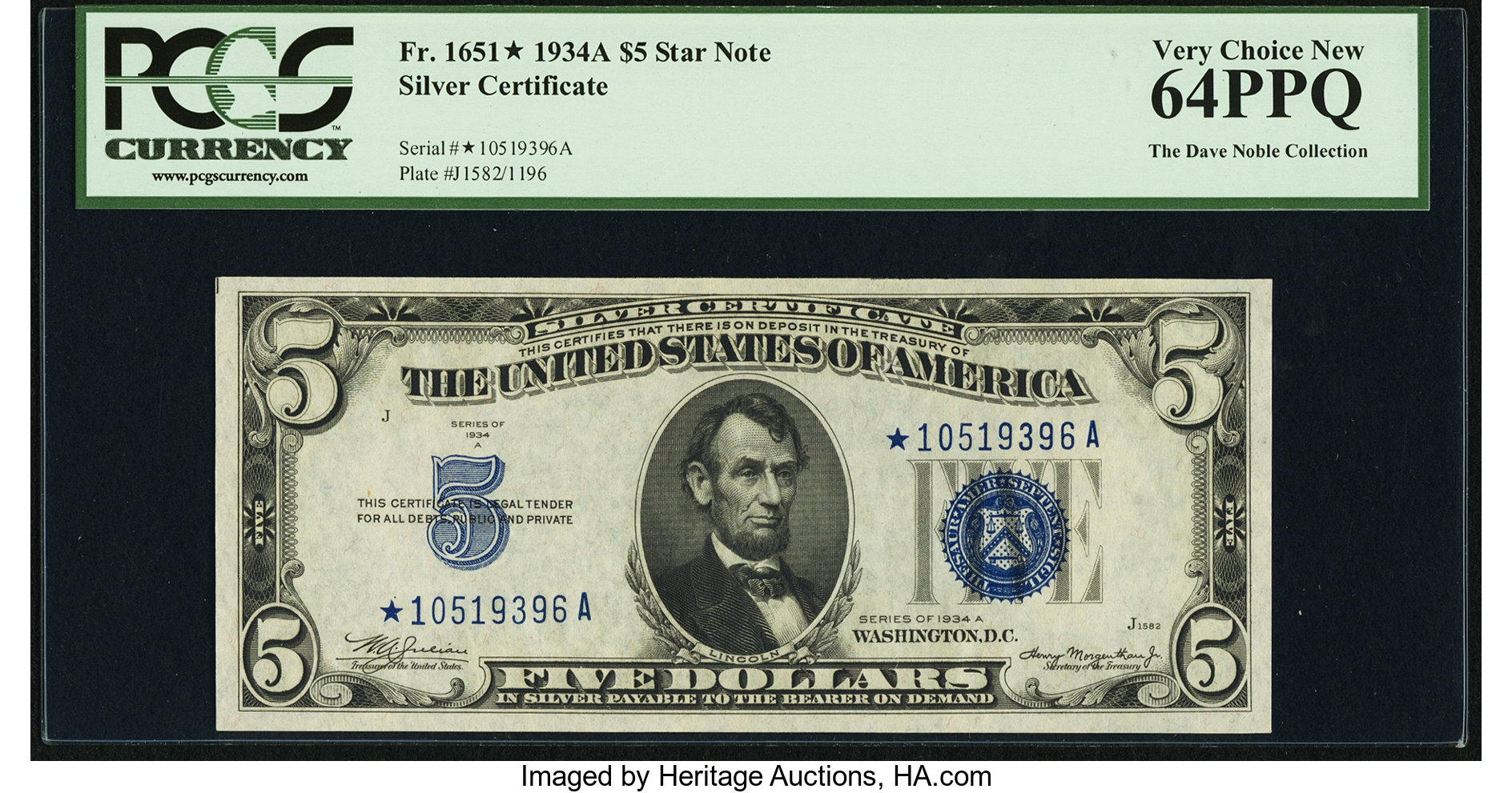 sample image for 1934A $5  Replacement (Fr.# 1651*)