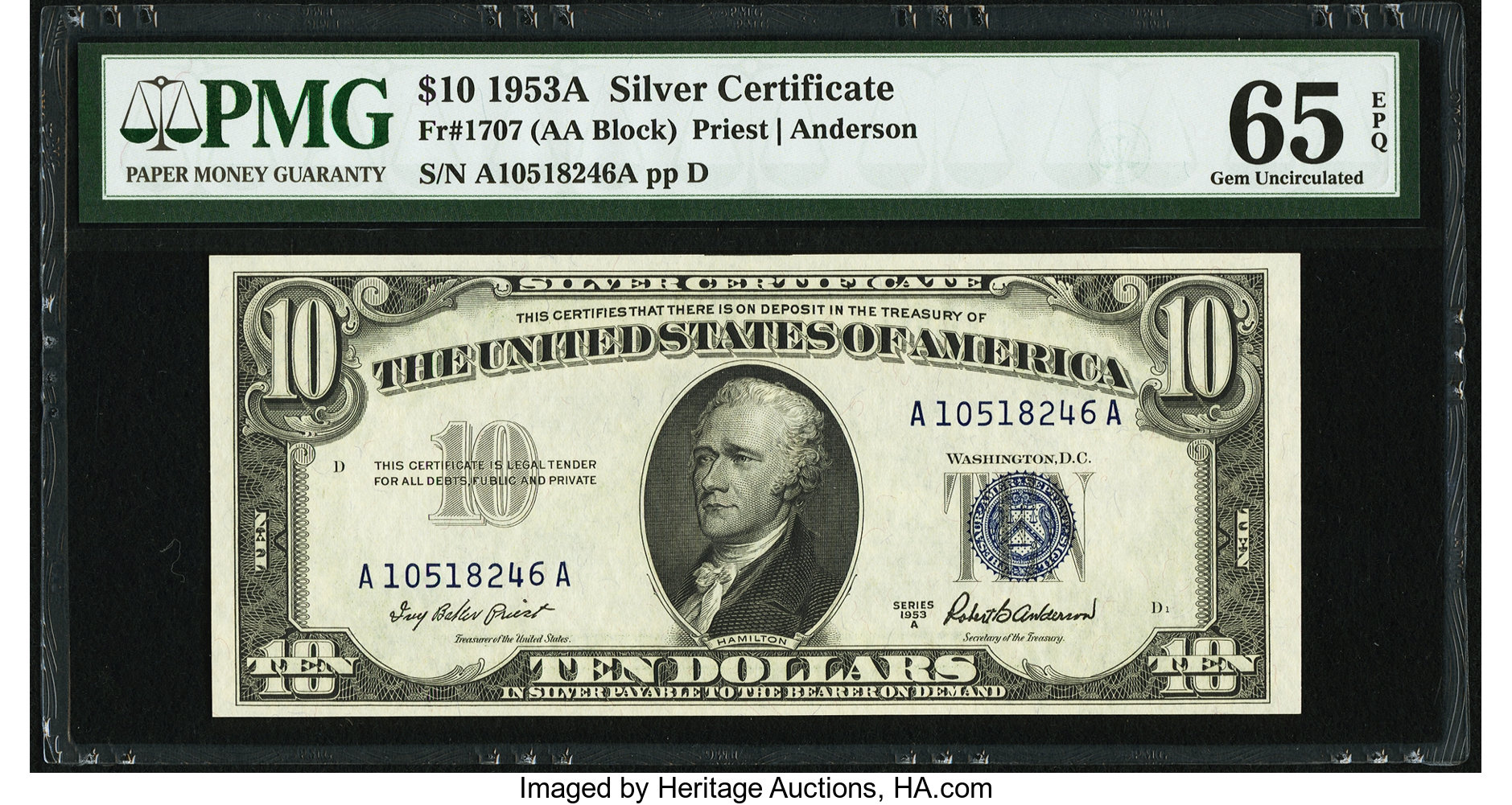 sample image for 1953A $10  (Fr.# 1707)
