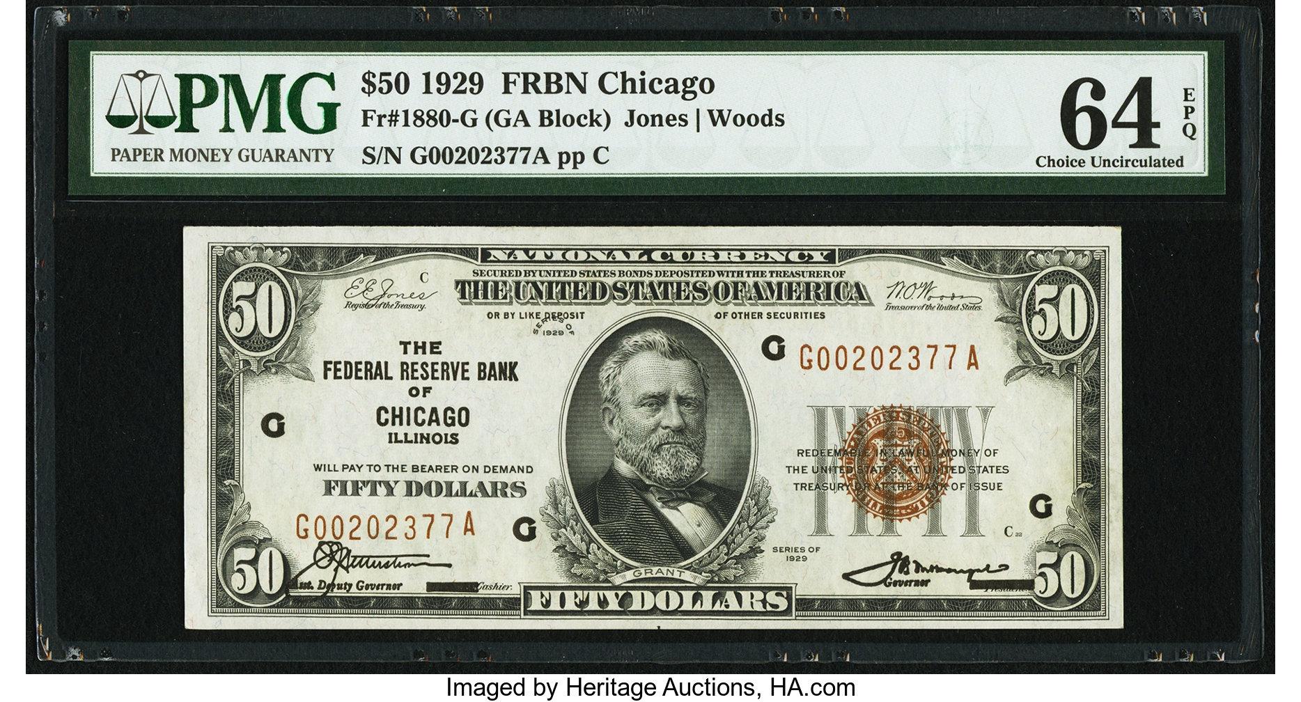 sample image for 1929 $50  Chicago (Fr.# 1880G)
