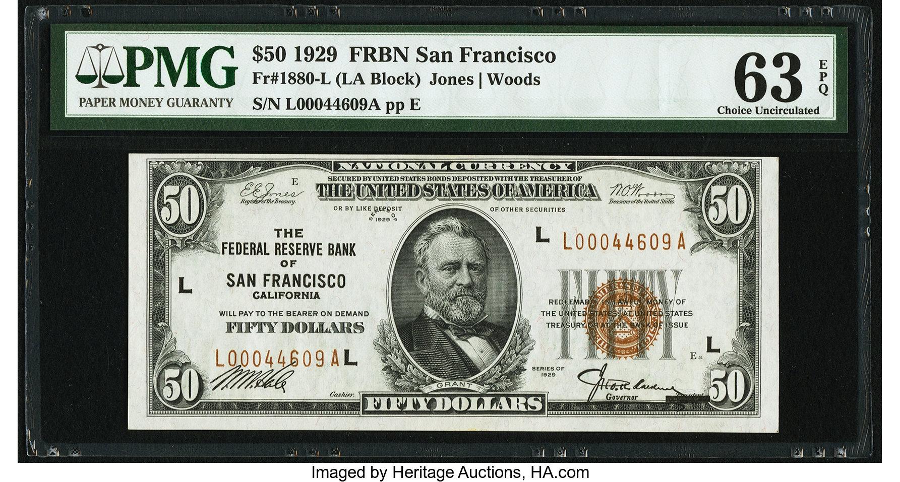 sample image for 1929 $50  San Francisco (Fr.# 1880L)