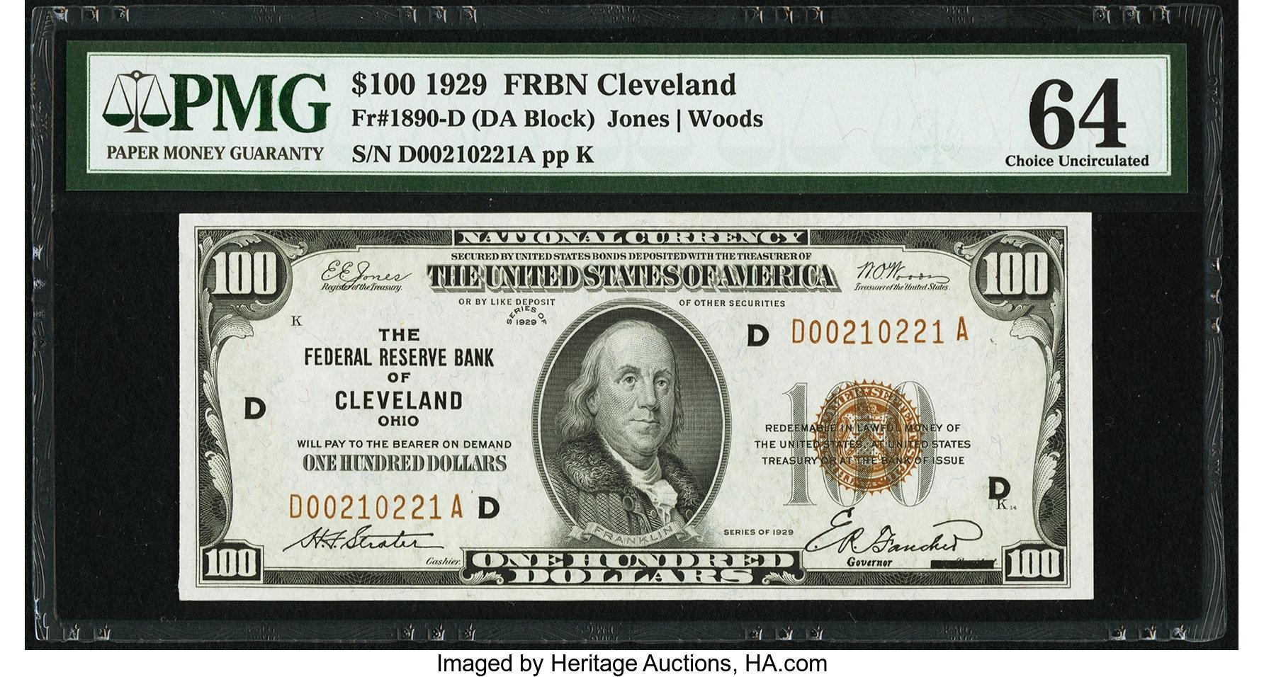 sample image for 1929 $100  Cleveland (Fr.# 1890D)