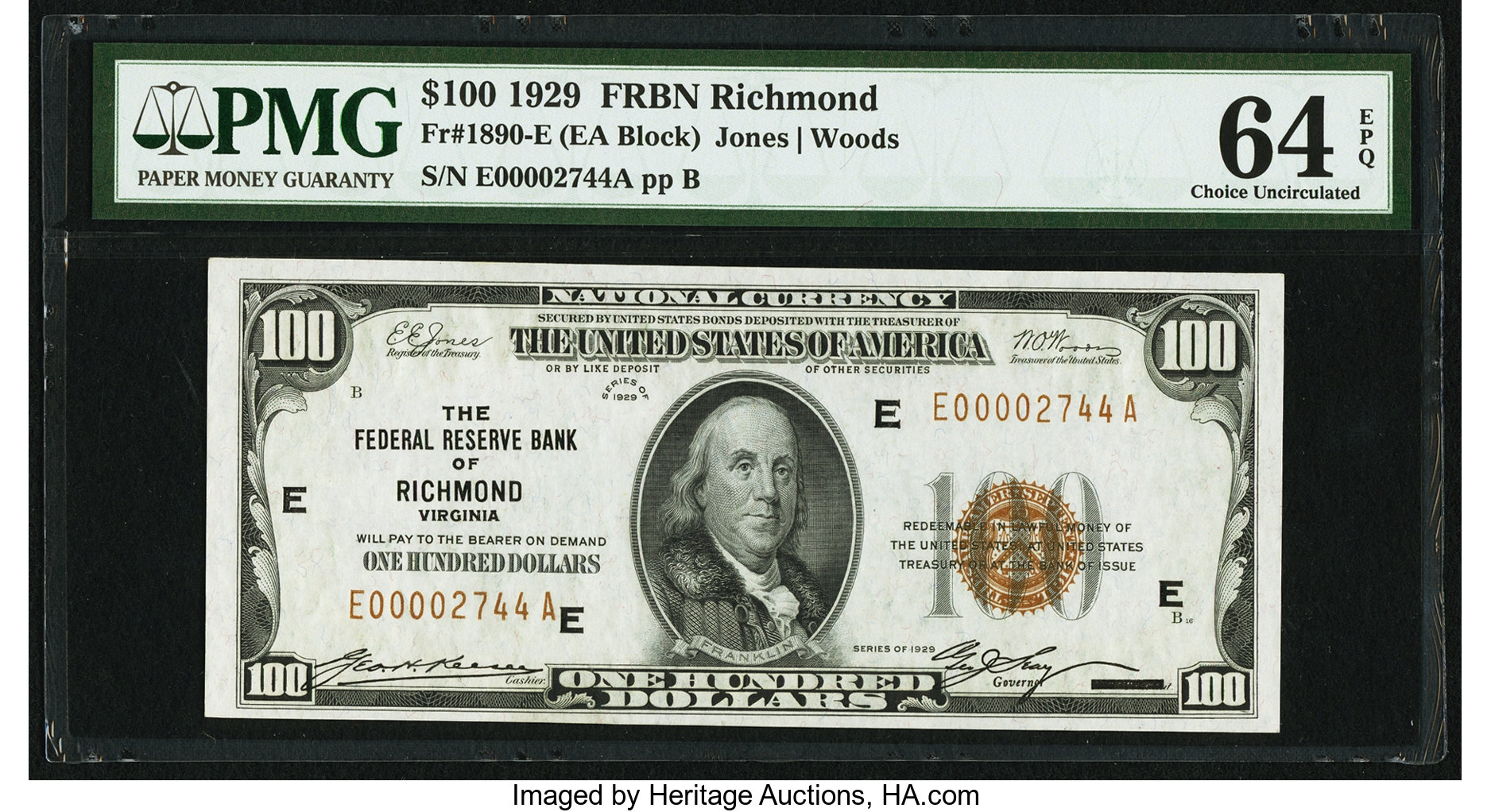 sample image for 1929 $100  Richmond (Fr.# 1890E)