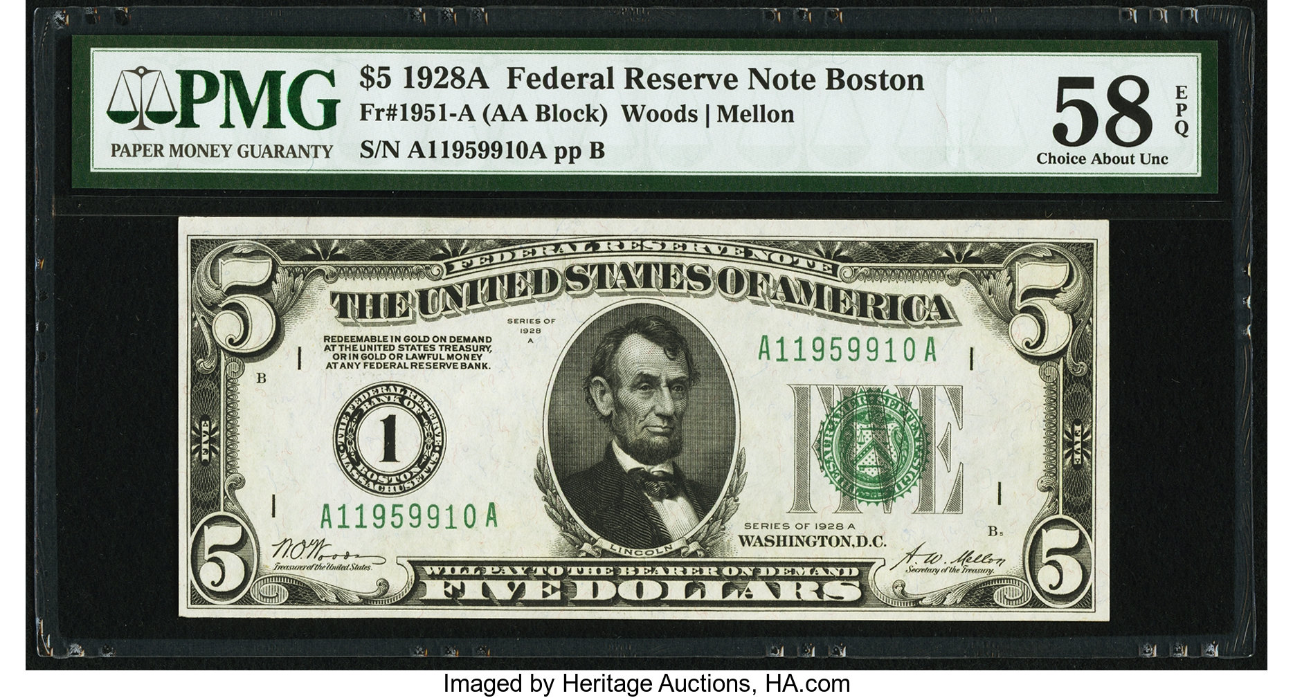 sample image for 1928A $5  Boston (Fr.# 1951A)