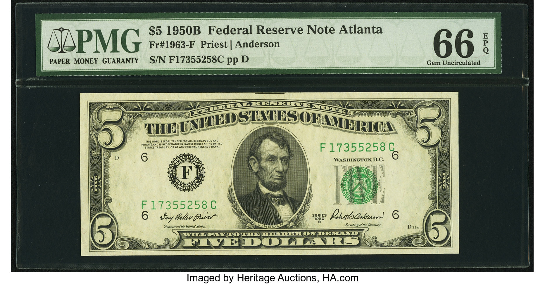 sample image for 1950B Dark Green Seal $5  (Fr.# 1963F)