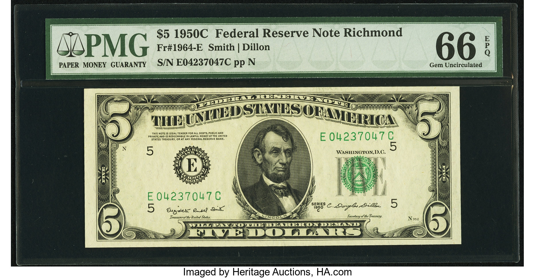 sample image for 1950C Dark Green Seal $5  (Fr.# 1964E)