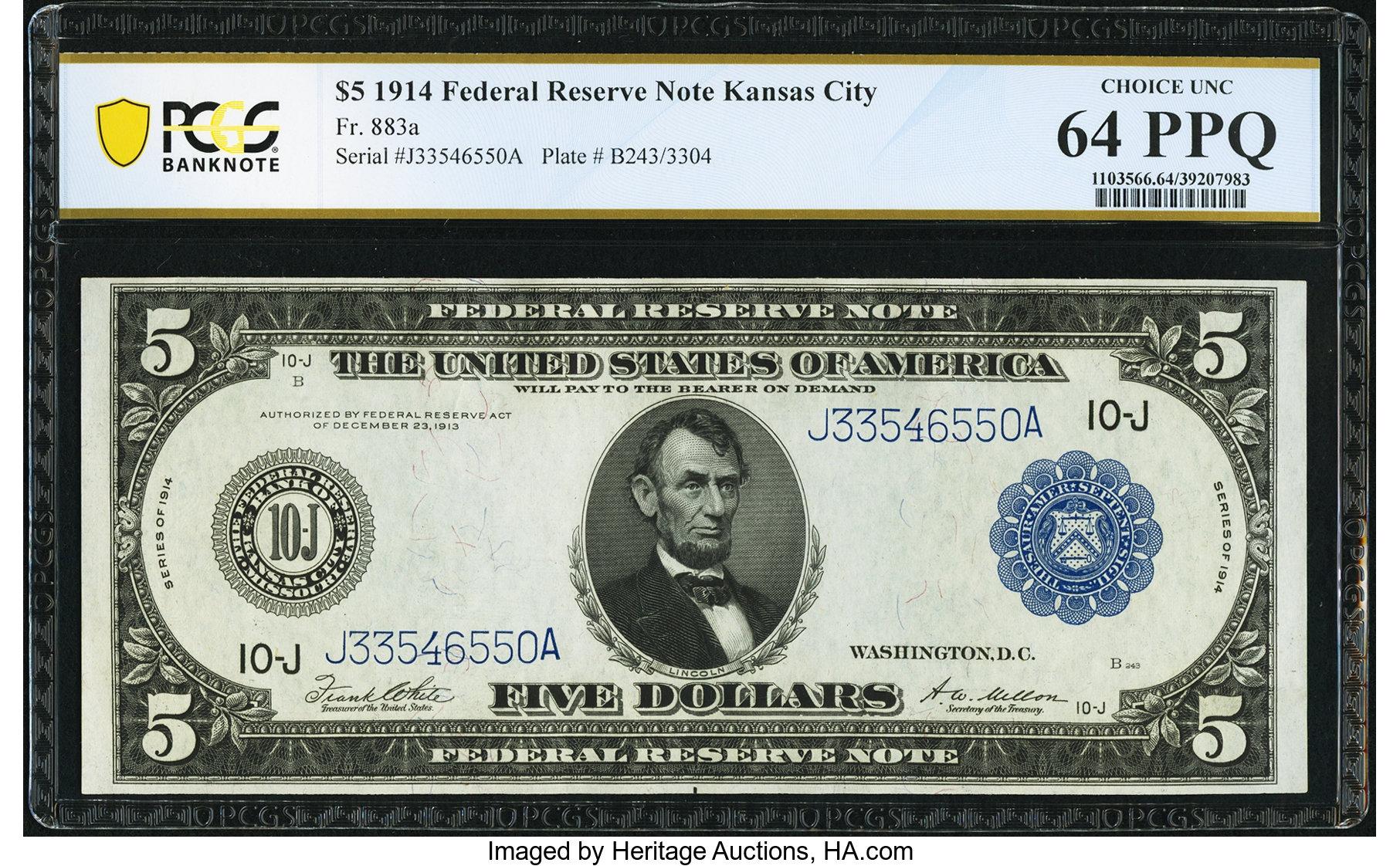 sample image for Fr.883A $5 KC