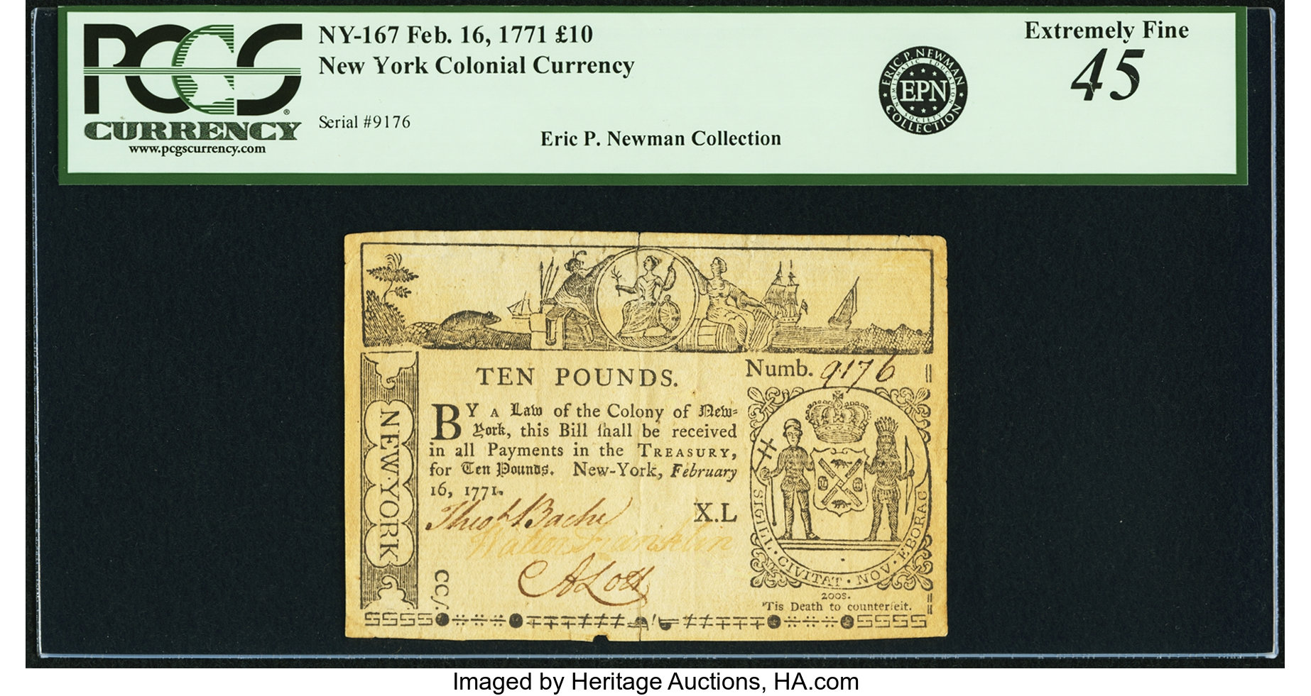 sample image for 1771 16-Feb £10 (Fr.# NY167)