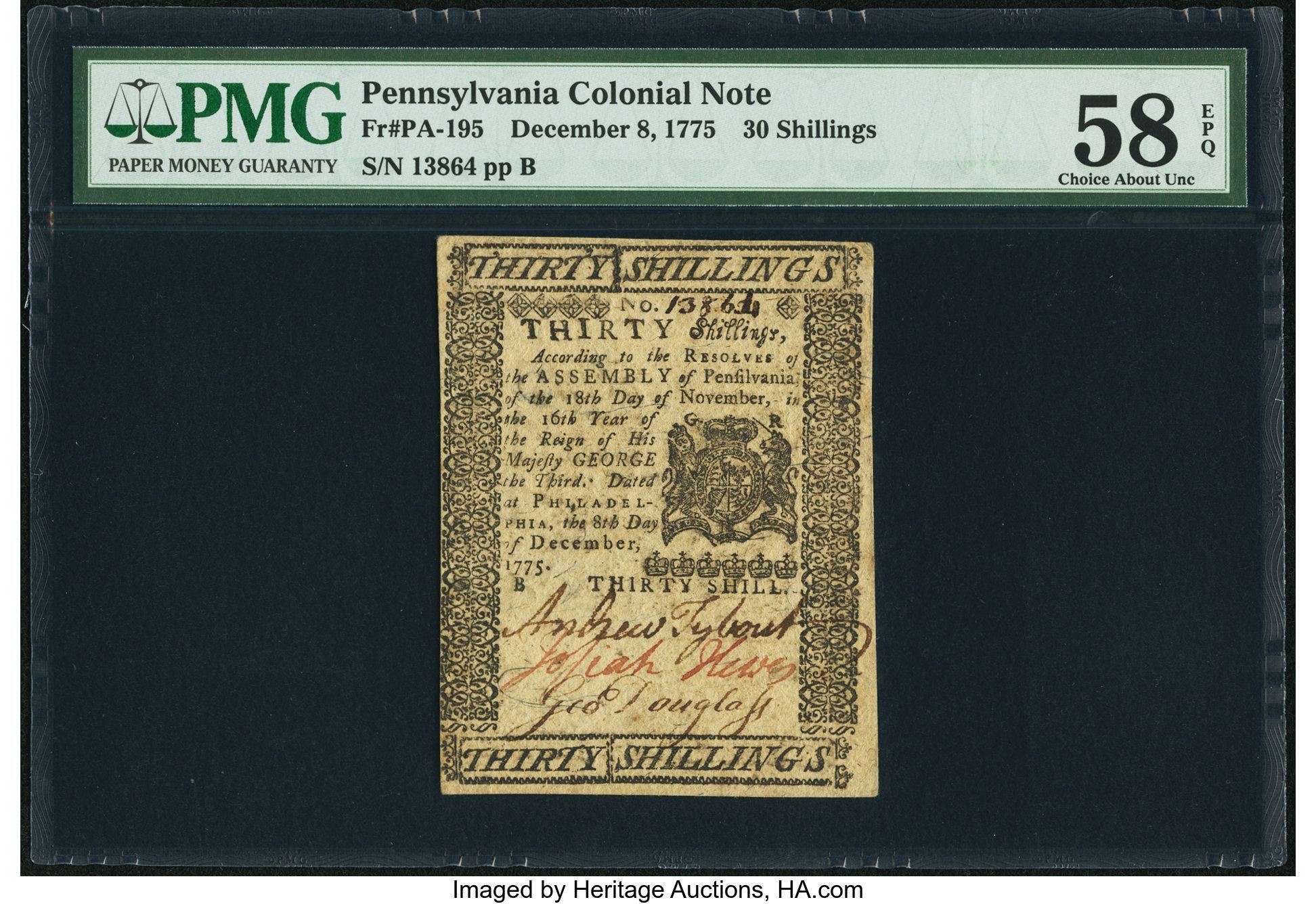 sample image for 1775 8-Dec 30s (Fr.# PA195)