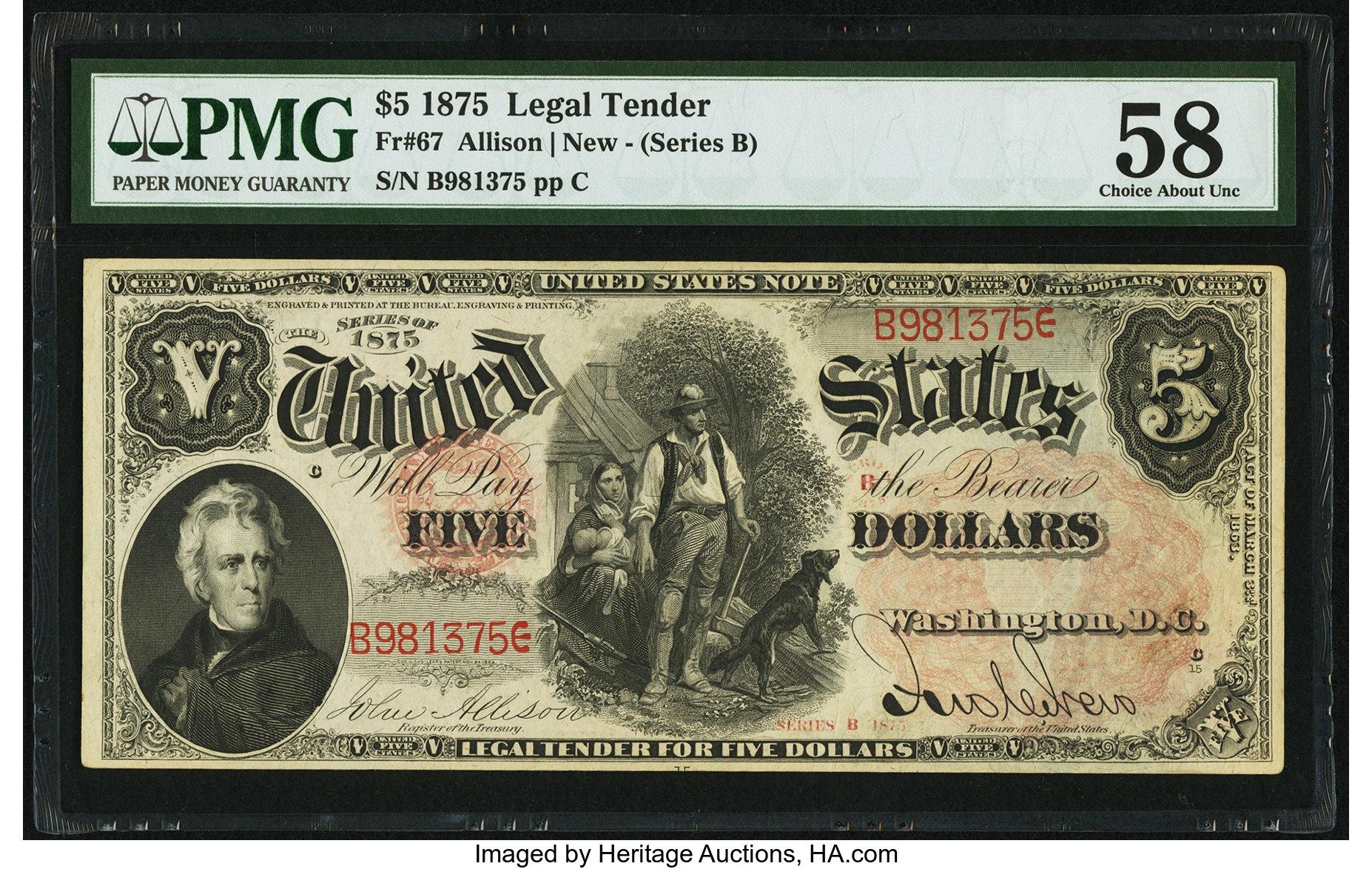 sample image for 1875 $5  (Fr.# 67)