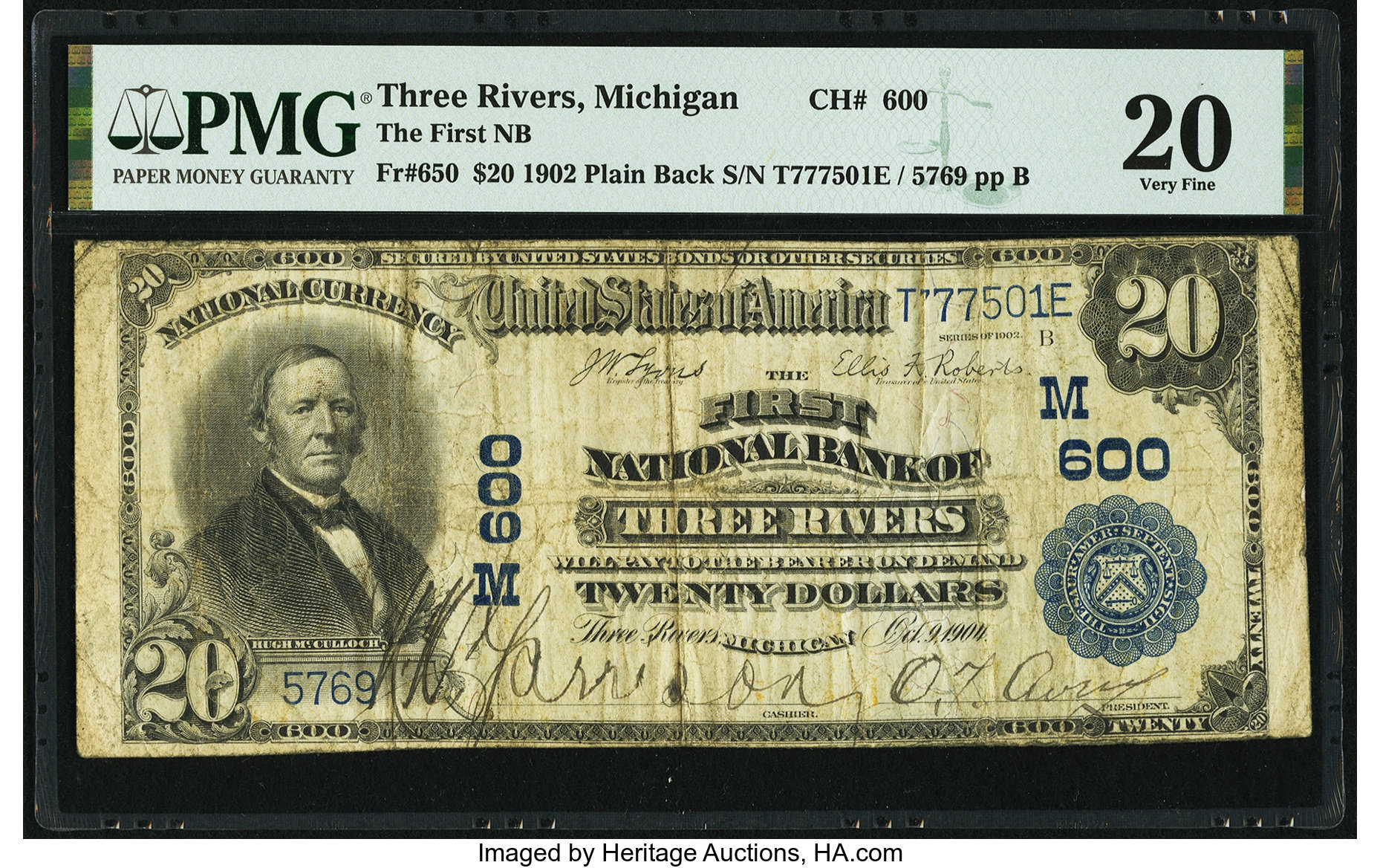 sample image for 1902 3rd Charter Period $20  Plain Back 3rd Issue (Fr.# 650)