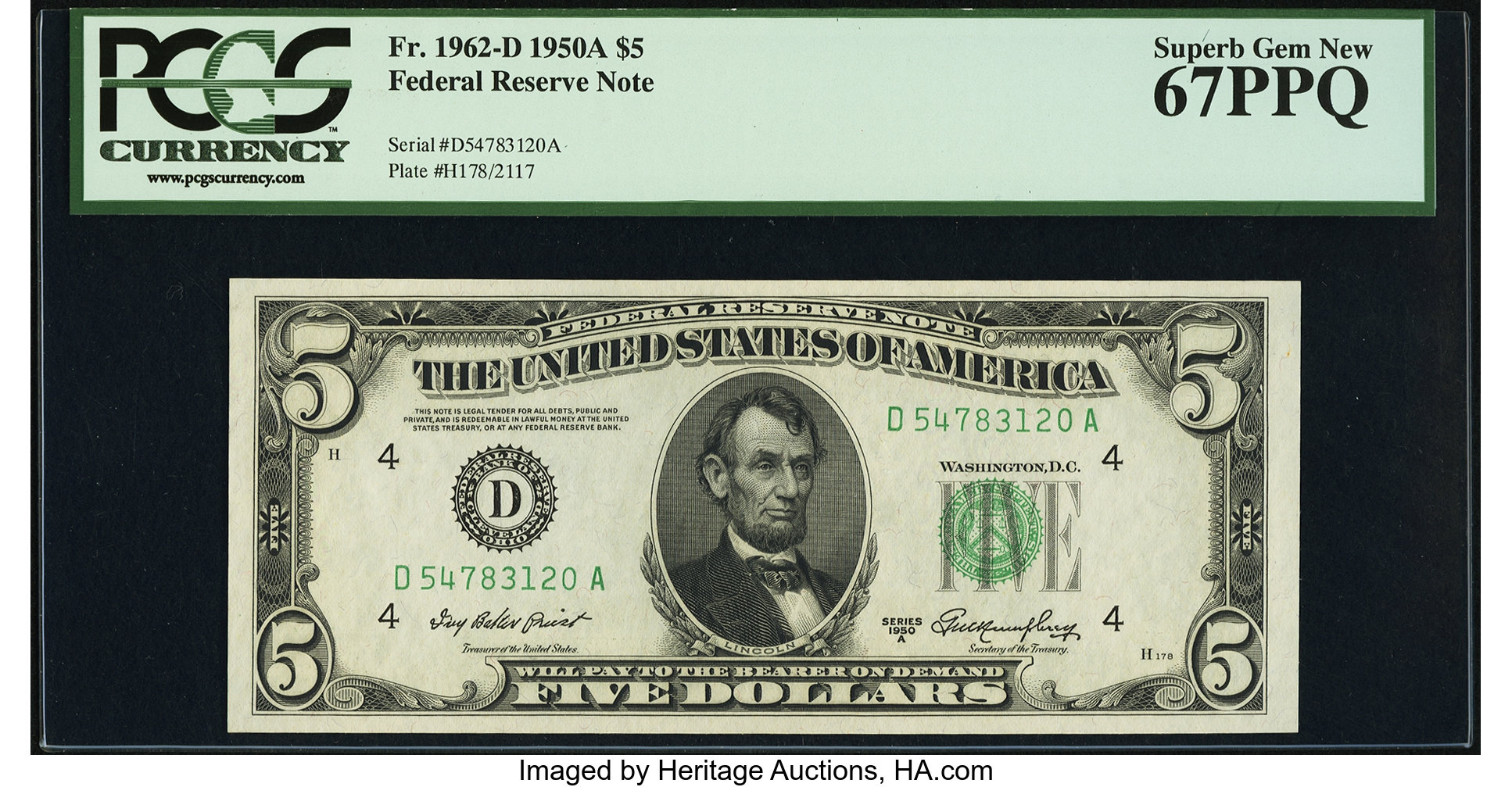sample image for 1950A Dark Green Seal $5  (Fr.# 1962D)