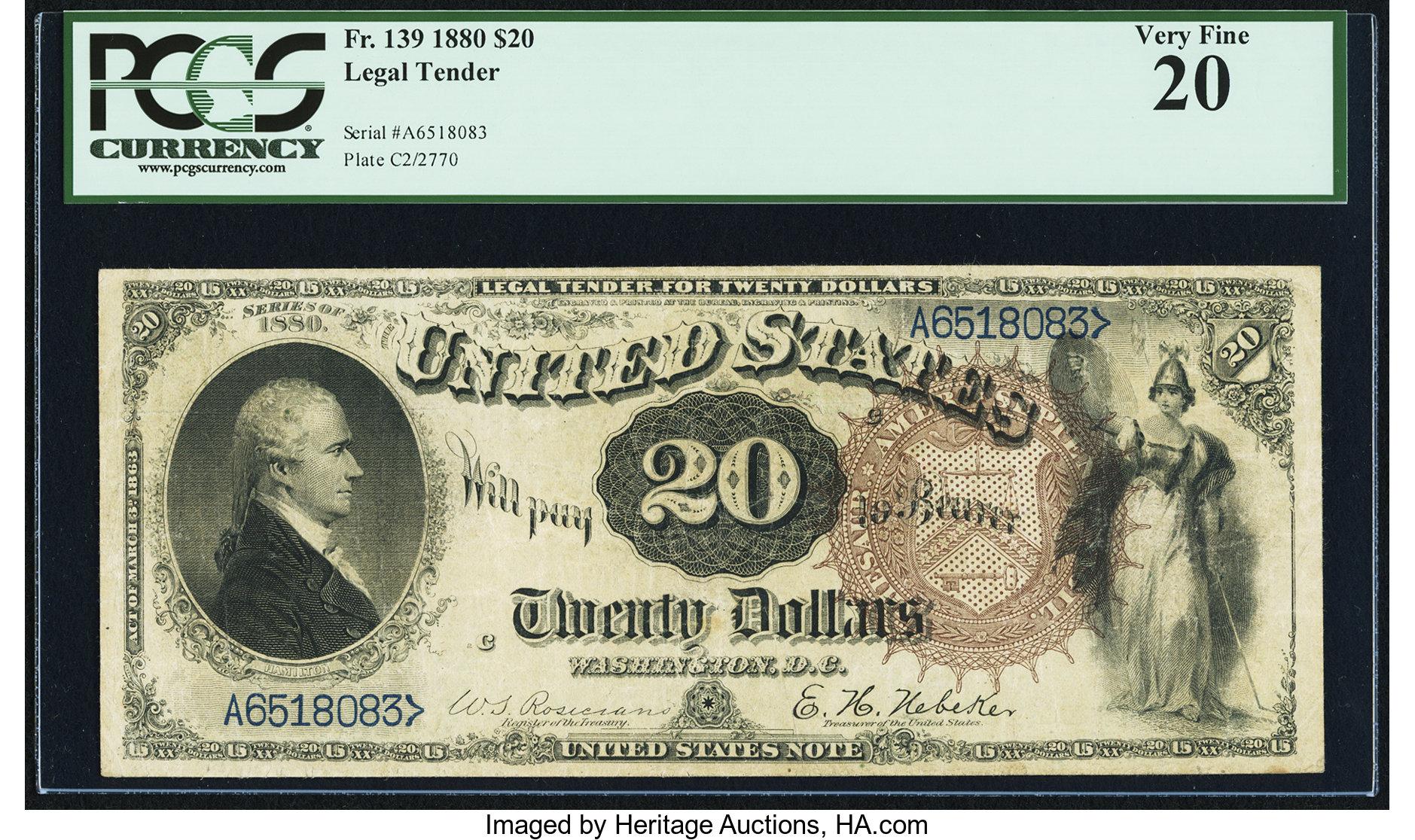 sample image for 1880 $20  (Fr.# 139)