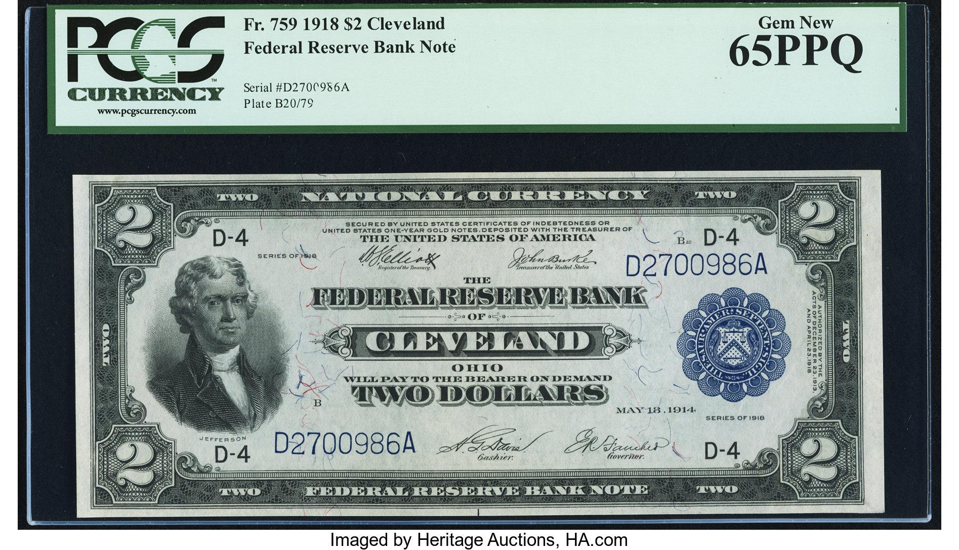 sample image for 1918 $2  Cleveland (Fr.# 759)