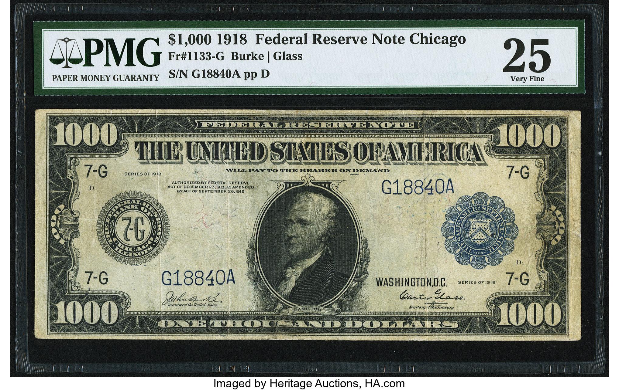 sample image for Fr.1133-G $1,000 Chicago
