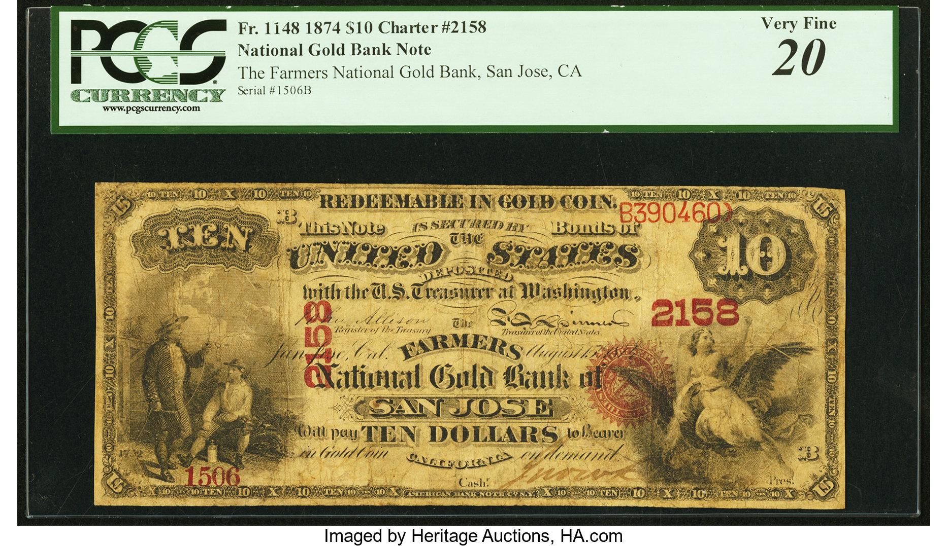 sample image for 1874 $10  San Jose (Fr.# 1148)
