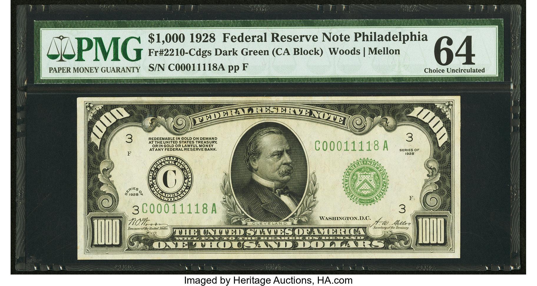 sample image for Fr.2210C $1,000 1928 Philadelphia