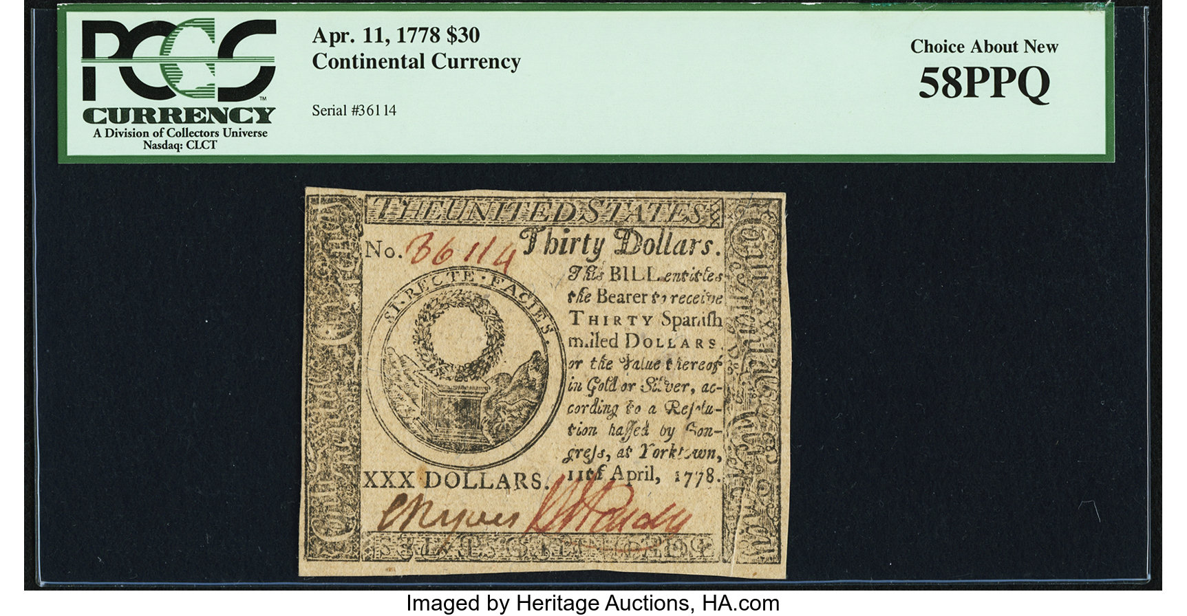 sample image for 1778 $30 CC77 Yorktown