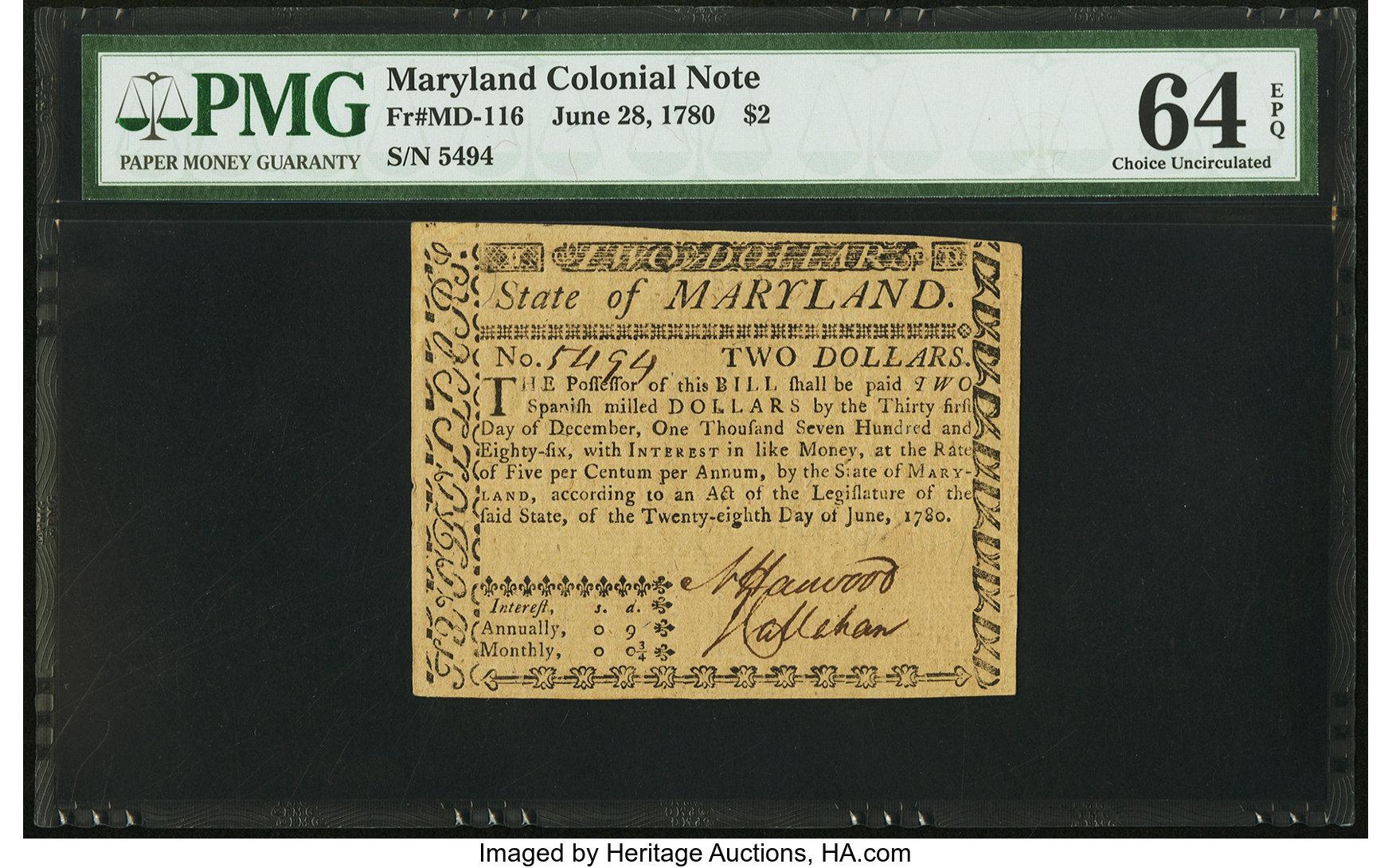 sample image for 1780 28-Jun $2  (Fr.# MD116)