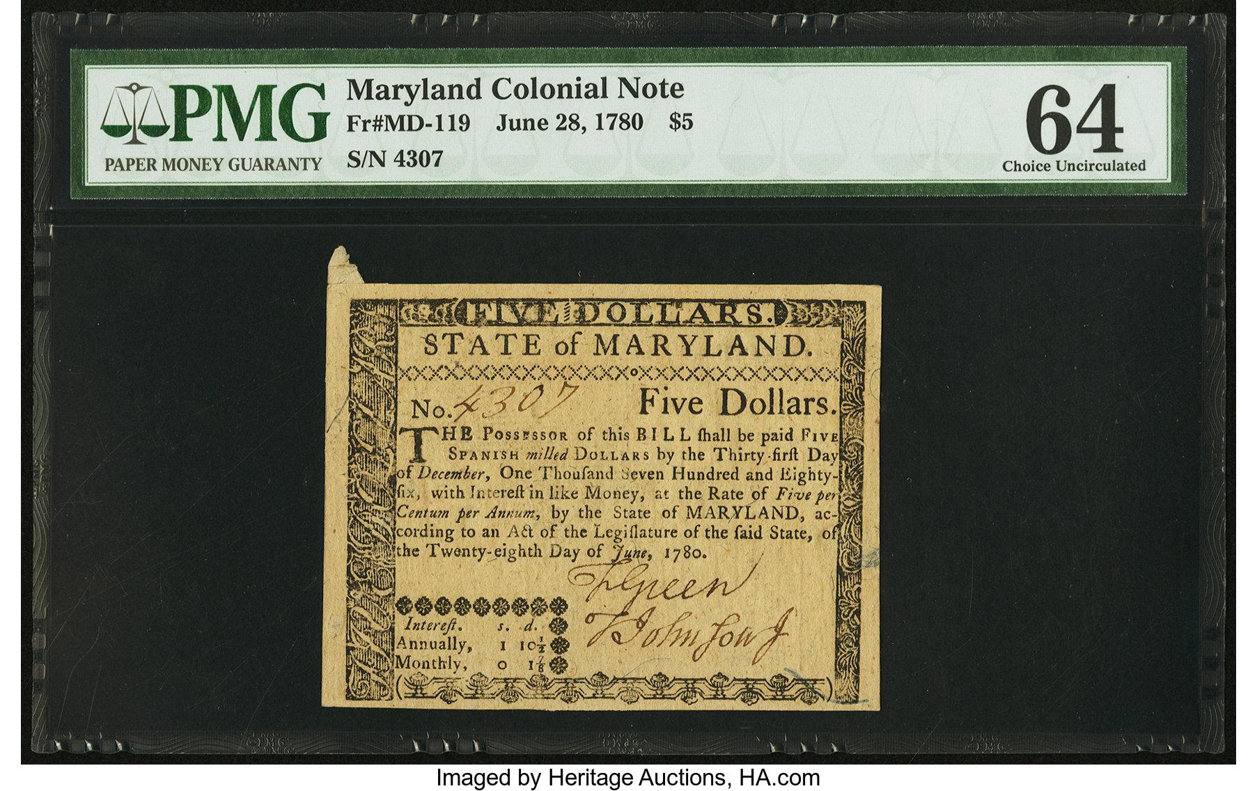 sample image for 1780 28-Jun $5  (Fr.# MD119)