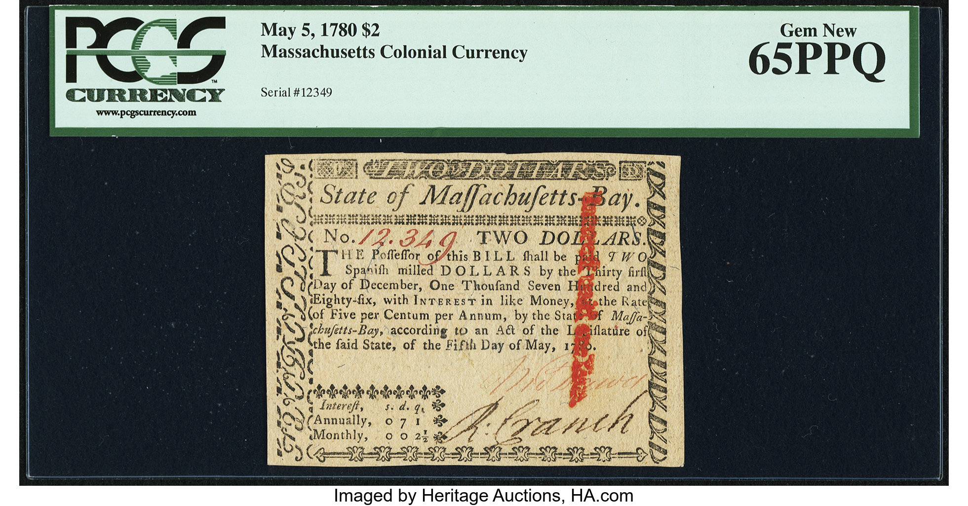 sample image for 1780 5-May $2  (Fr.# MA279)