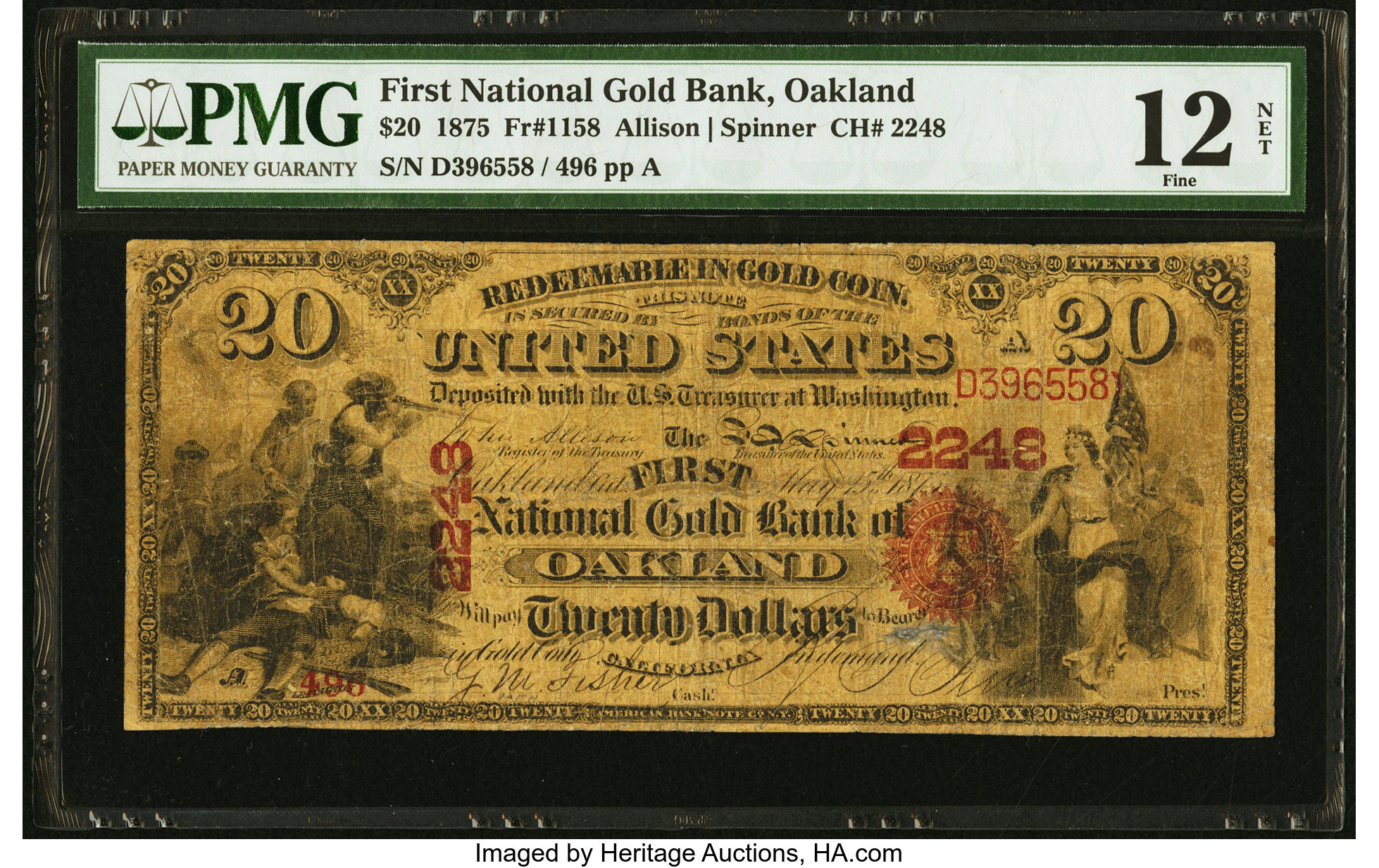 sample image for 1875 $20  Oakland (Fr.# 1158)