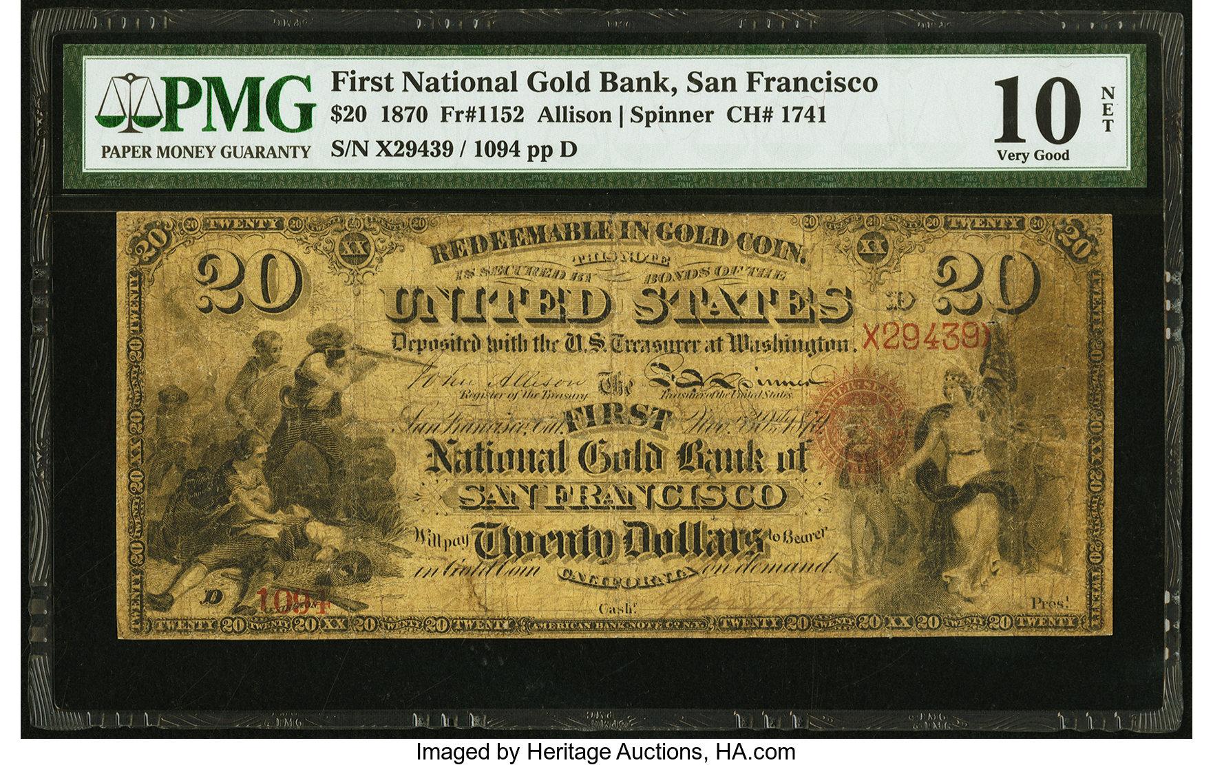 sample image for 1870 $20  San Francisco (Fr.# 1152)