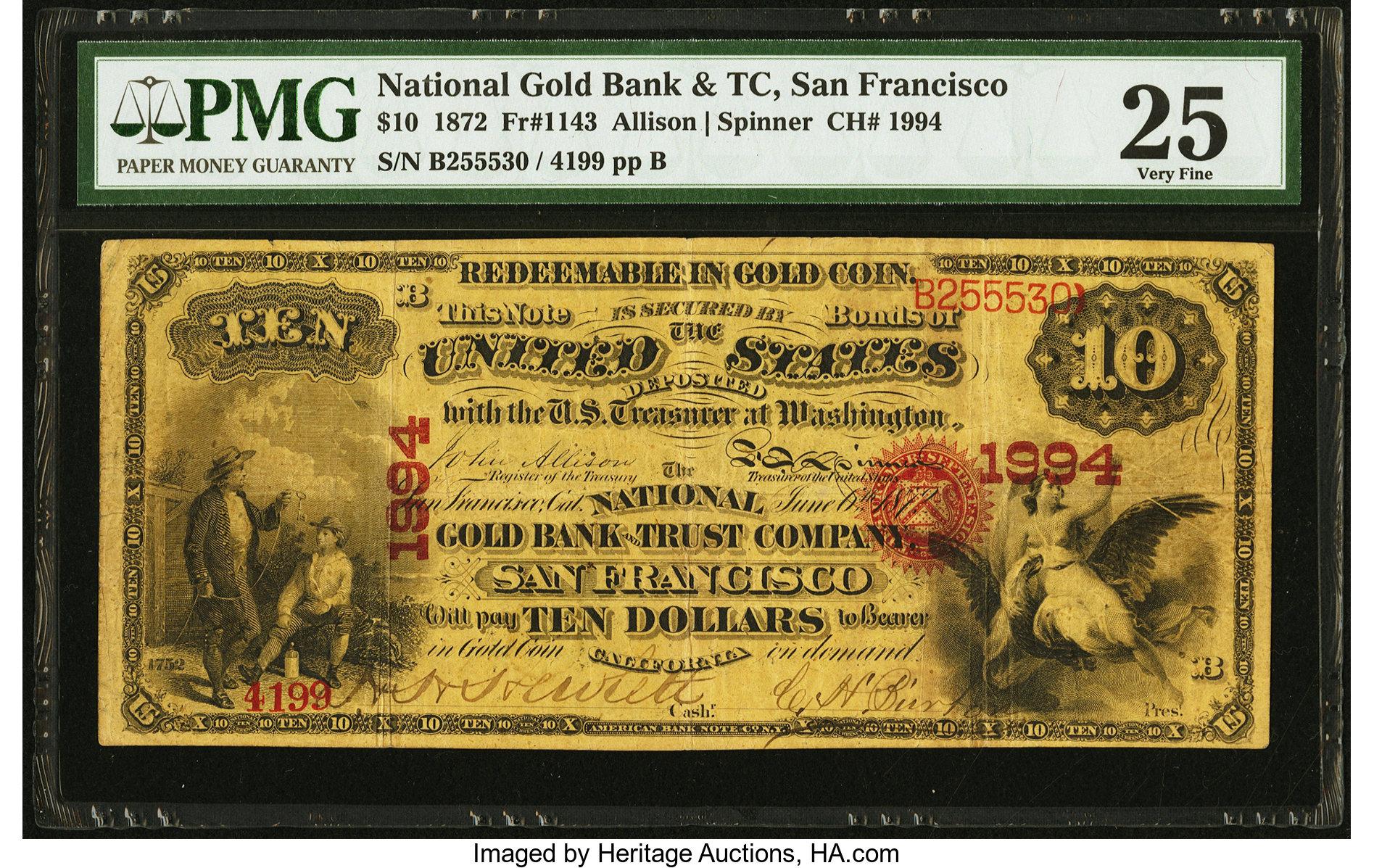 sample image for 1872 $10  San Francisco (Fr.# 1143)