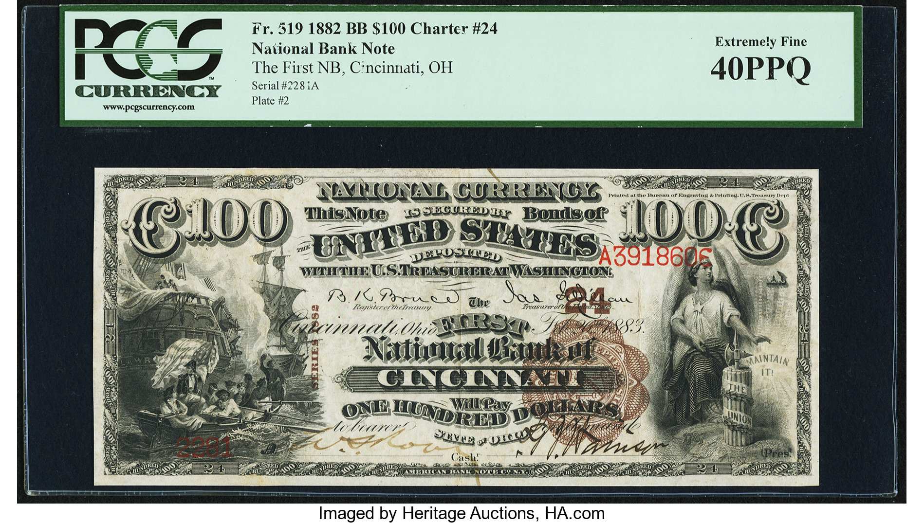 sample image for 1882 2nd Charter Period $100  Brown Back 1st Issue (Fr.# 519)
