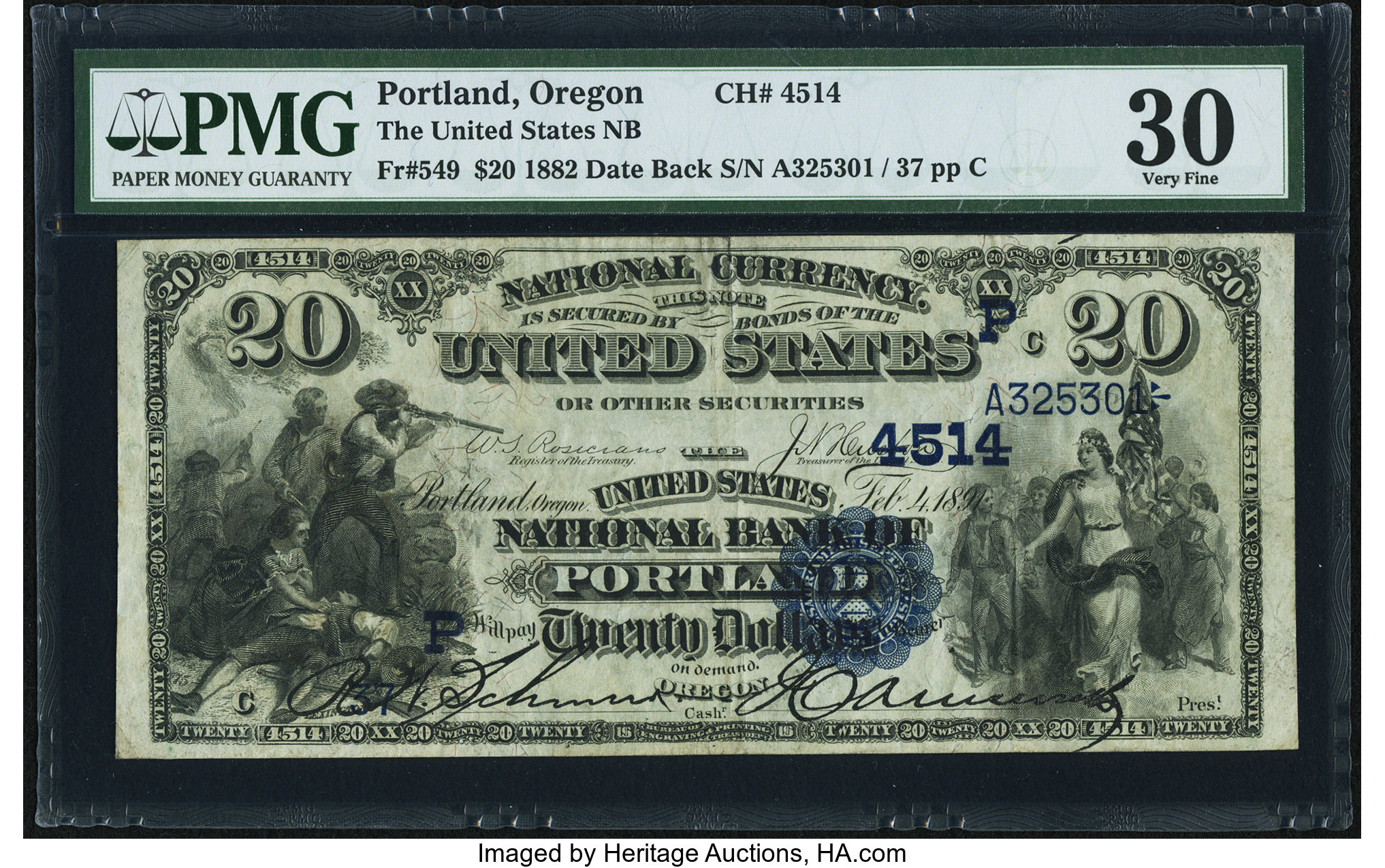 sample image for 1882 2nd Charter Period $20  Date Back 2nd Issue (Fr.# 549)