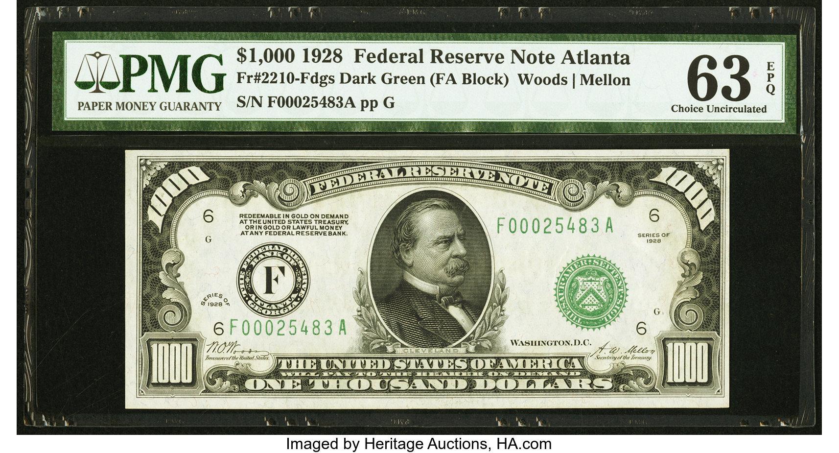 sample image for Fr.2210F $1,000 1928 Atlanta