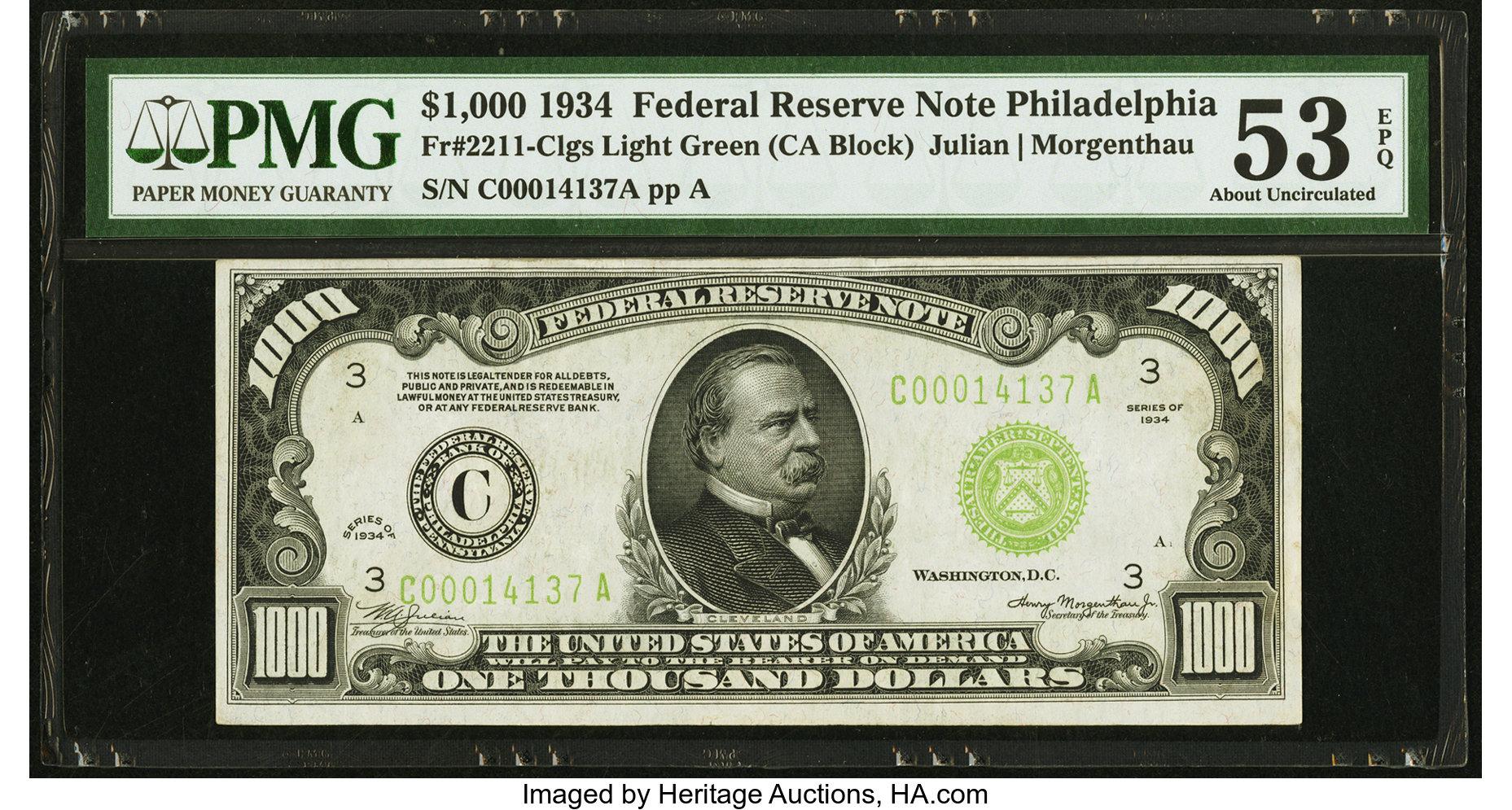 sample image for Fr.2211C $1,000 1934 Philadelphia