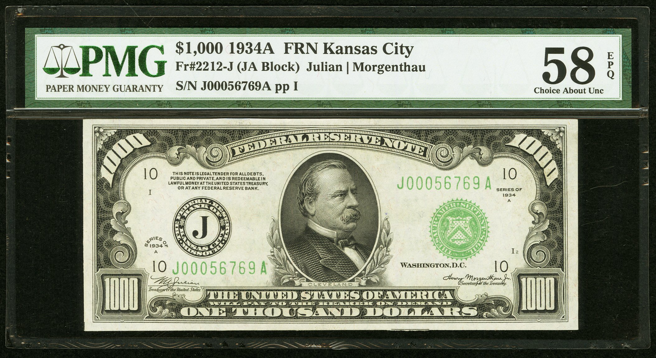 sample image for Fr.2212J $1,000 1934A Kansas City
