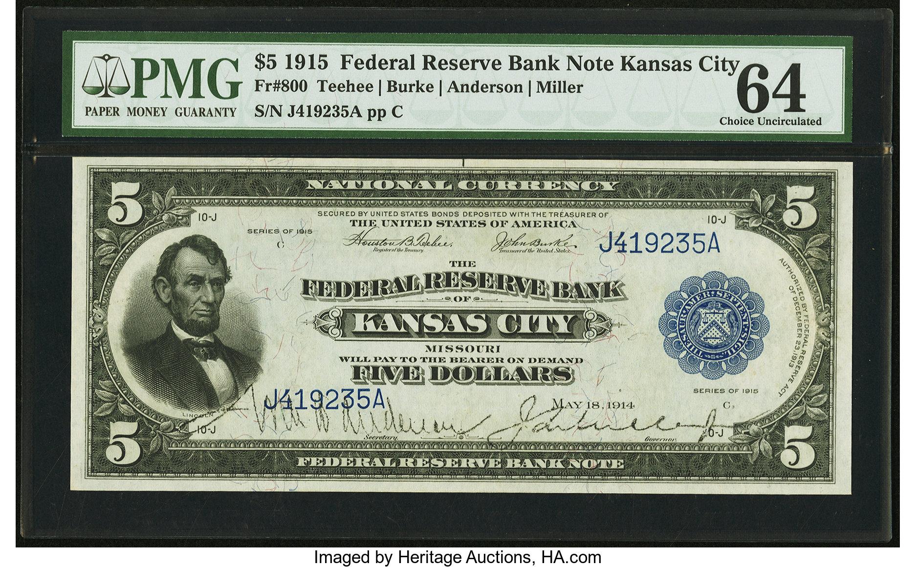 sample image for 1915 $5  Kansas City (Fr.# 800)