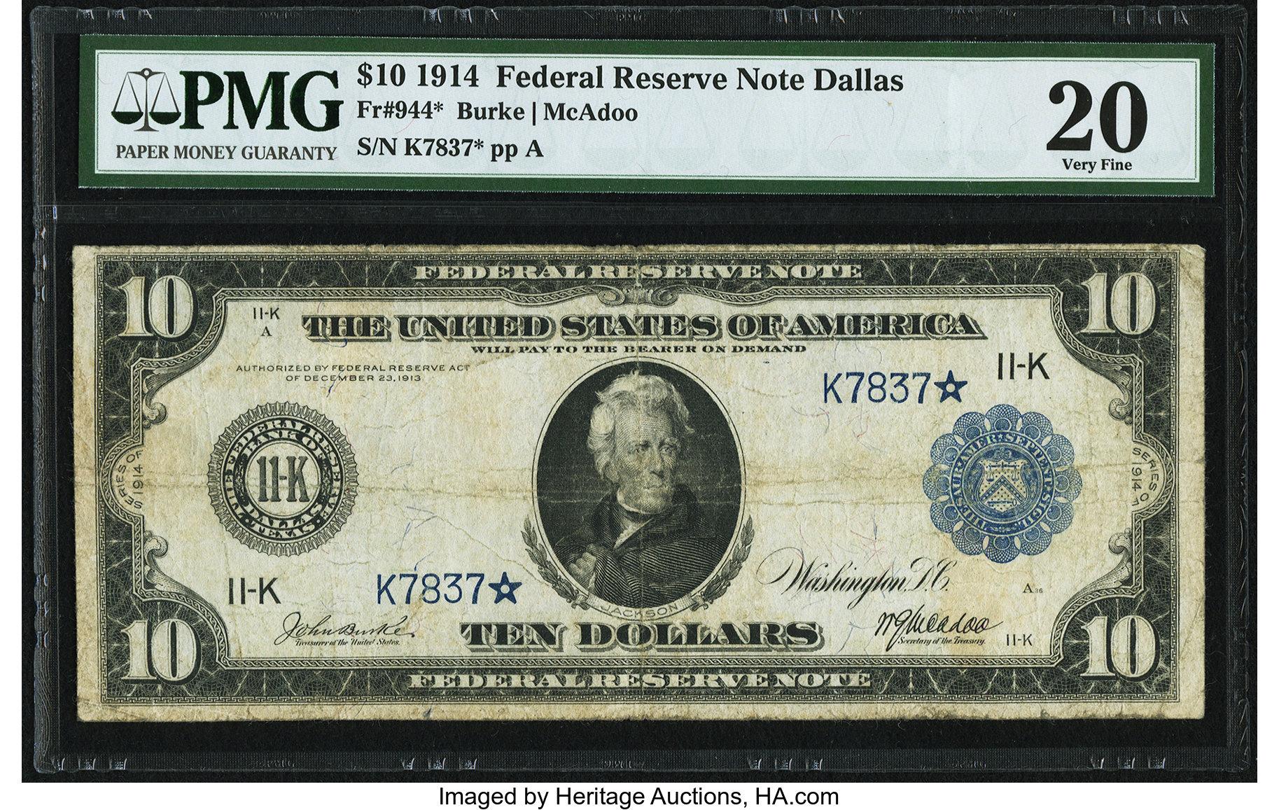 sample image for Fr.944 $10 Dallas